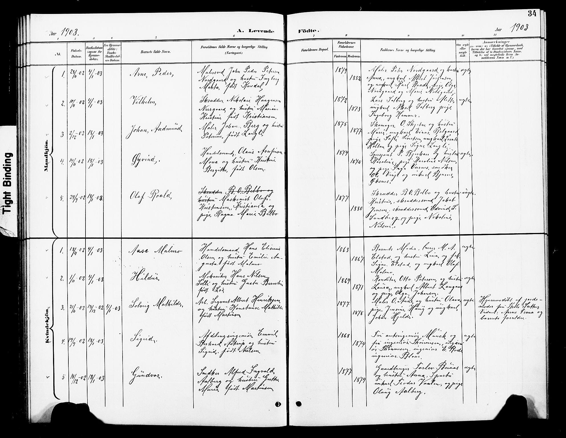 SAT, Ministerialprotokoller, klokkerbøker og fødselsregistre - Nord-Trøndelag, 739/L0375: Klokkerbok nr. 739C03, 1898-1908, s. 34
