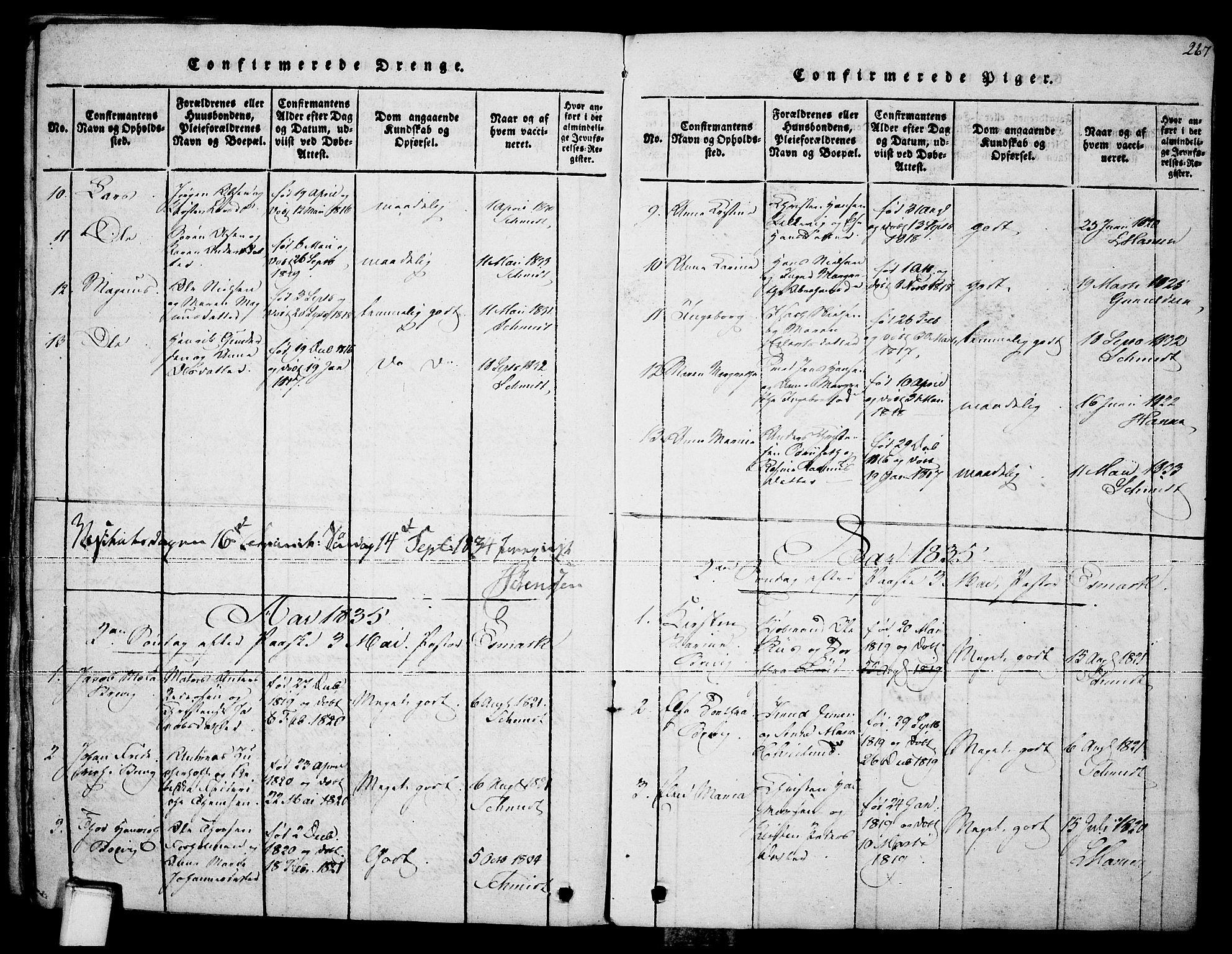 SAKO, Brevik kirkebøker, F/Fa/L0004: Ministerialbok nr. 4, 1814-1846, s. 267