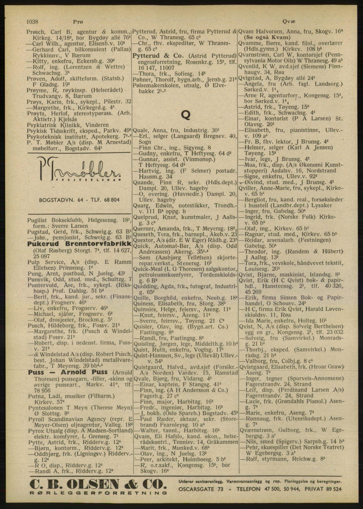 RA, Oslo adressebok (publikasjon)*, 1946, s. 1038