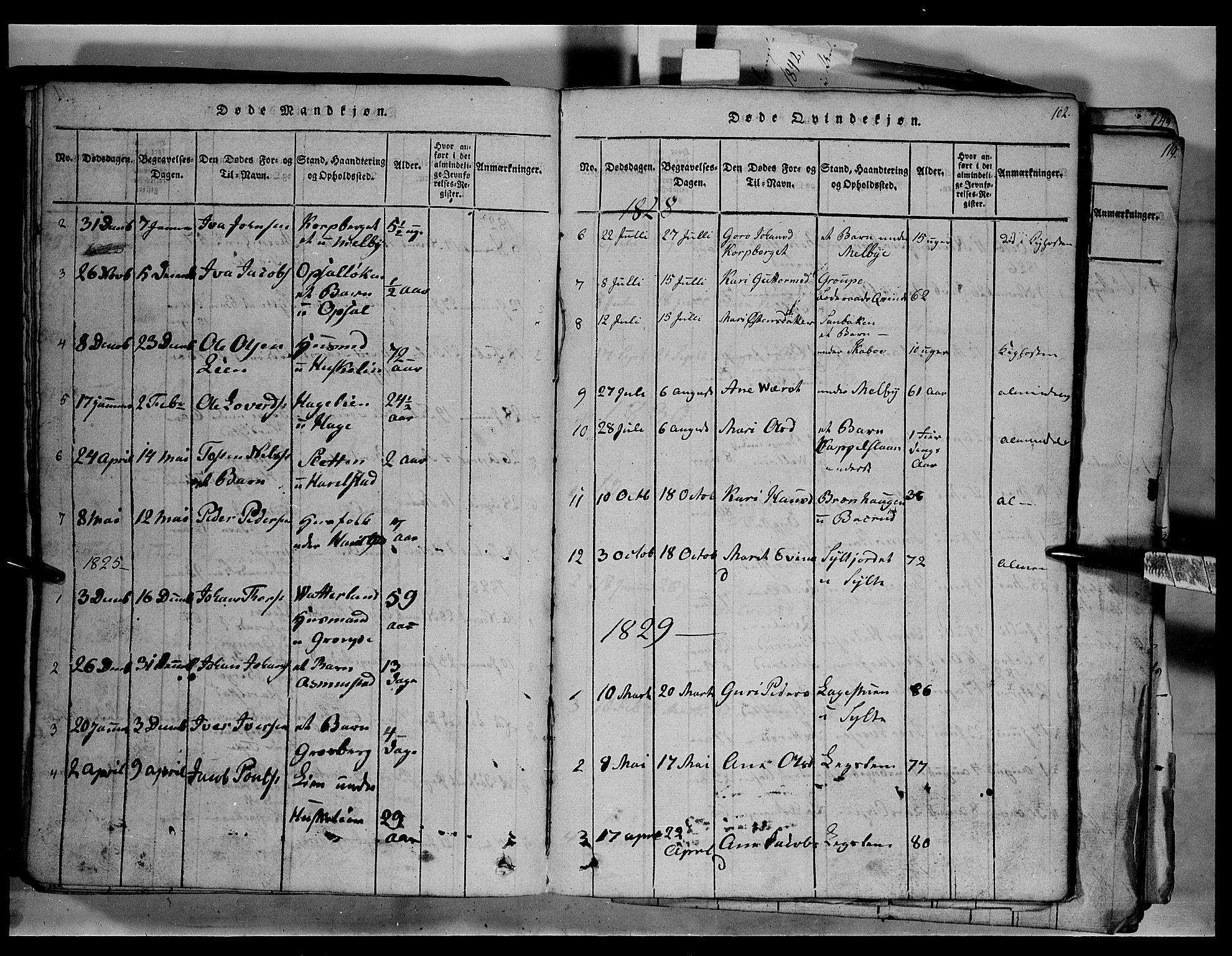 SAH, Fron prestekontor, H/Ha/Hab/L0003: Klokkerbok nr. 3, 1816-1850, s. 102