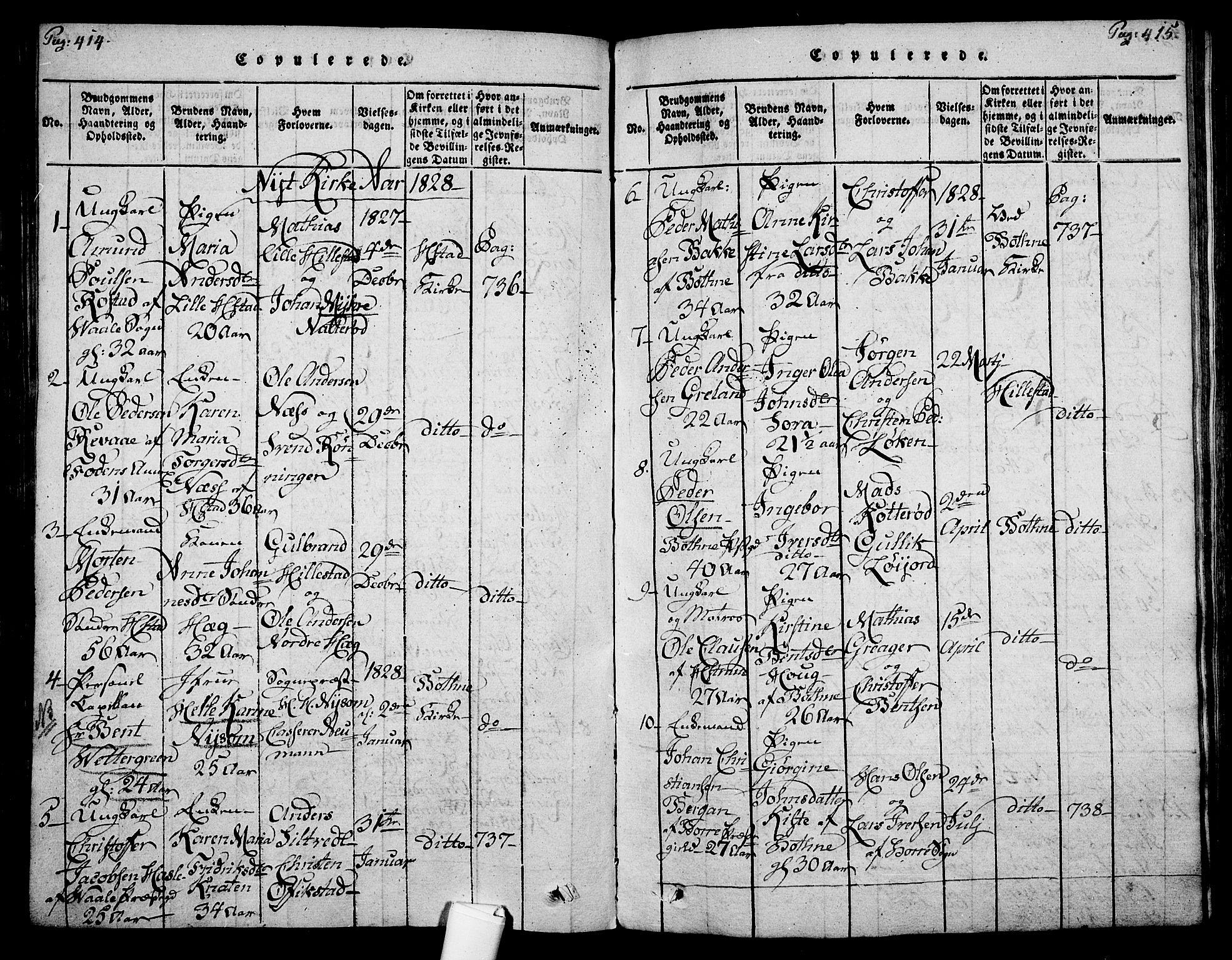 SAKO, Botne kirkebøker, F/Fa/L0005: Ministerialbok nr. I 5, 1814-1836, s. 414-415