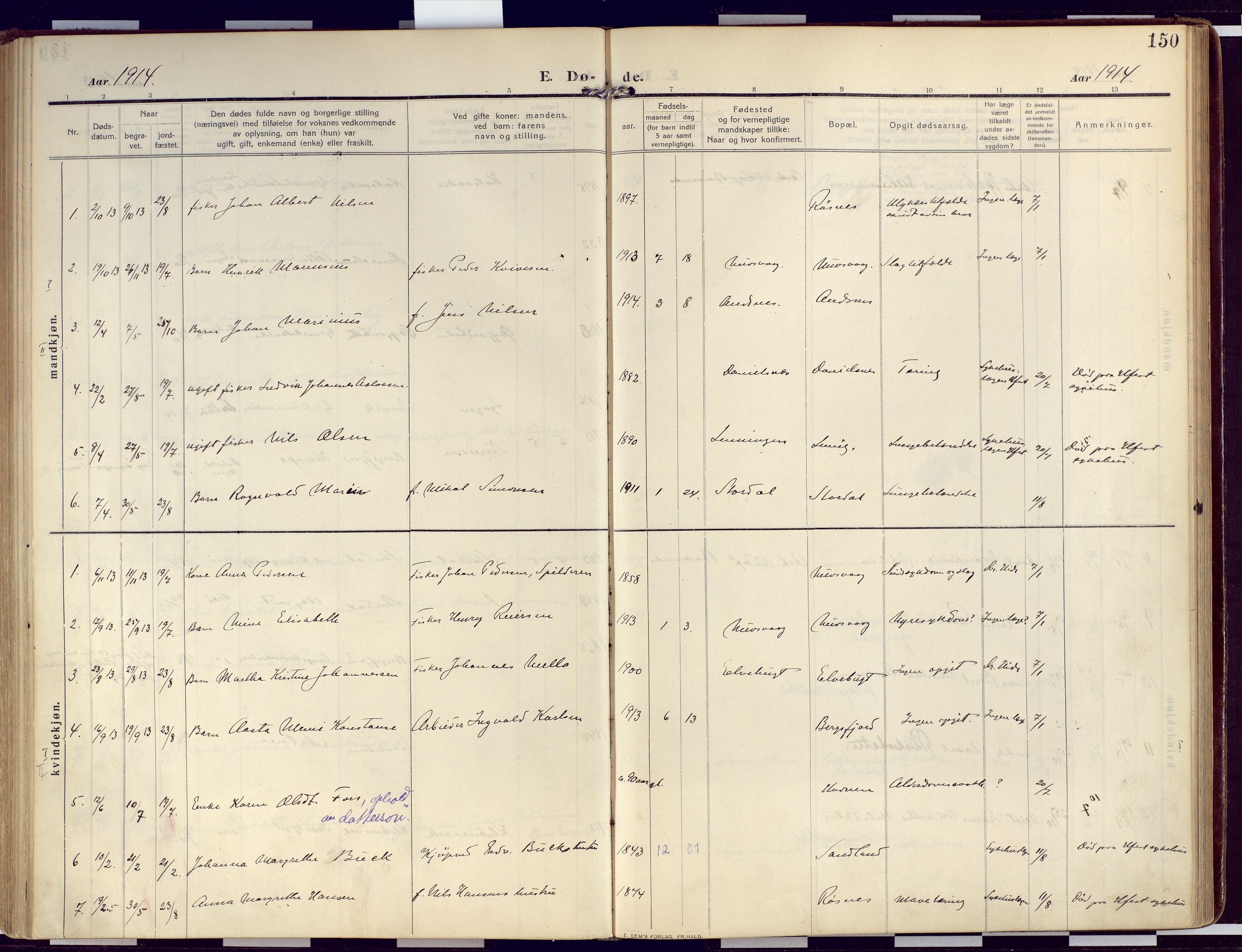 SATØ, Loppa sokneprestkontor, H/Ha/L0011kirke: Ministerialbok nr. 11, 1909-1919, s. 150