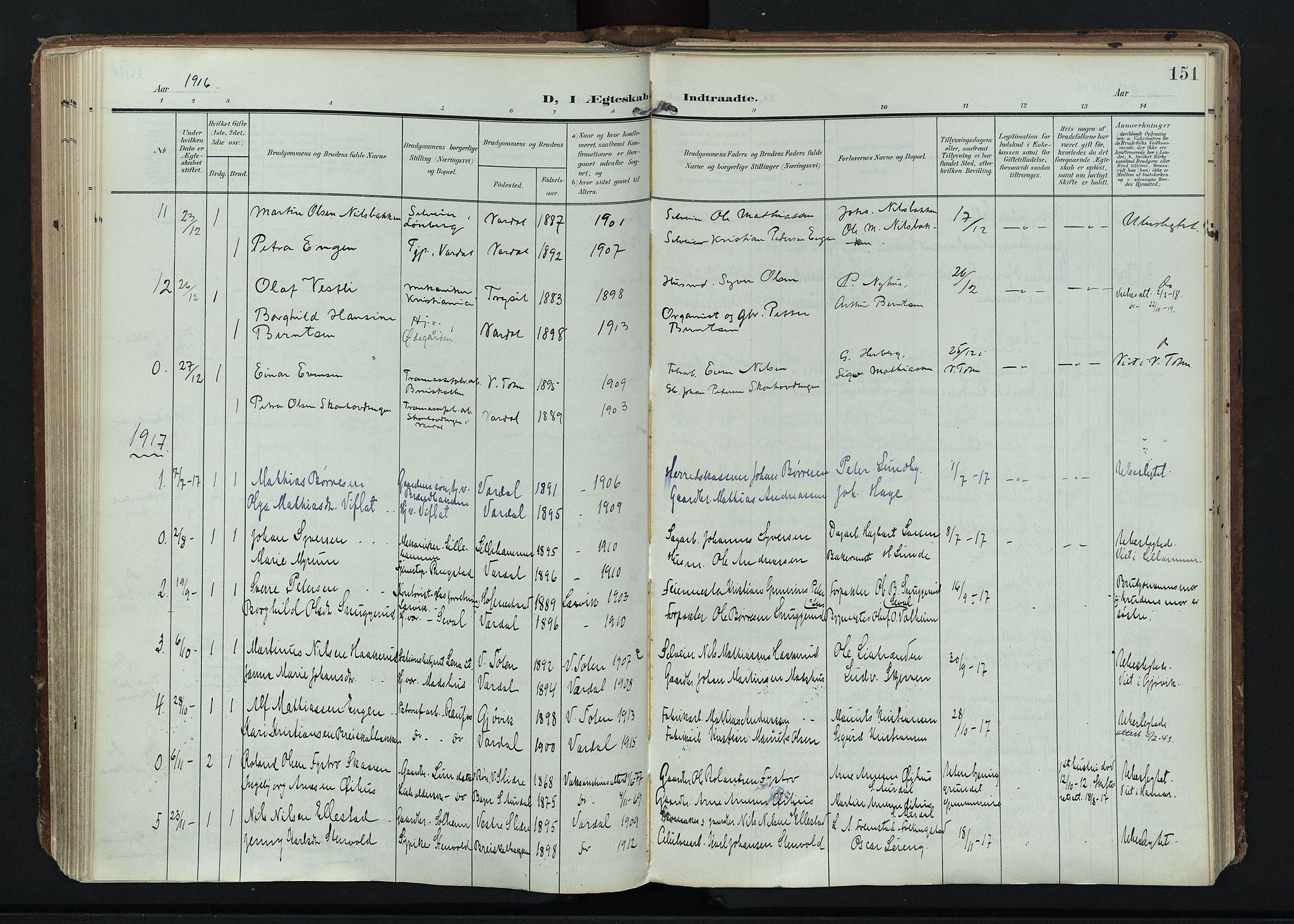 SAH, Vardal prestekontor, H/Ha/Haa/L0020: Ministerialbok nr. 20, 1907-1921, s. 151