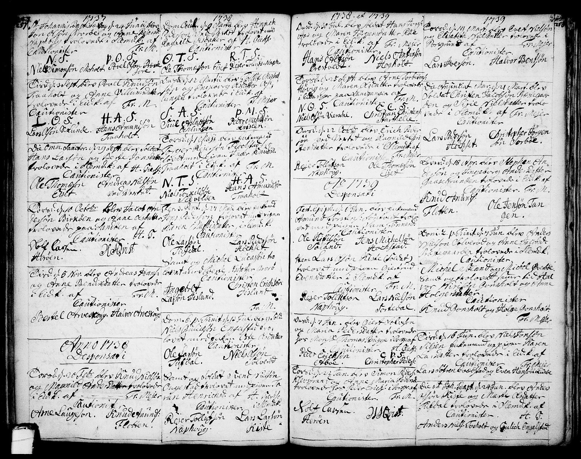 SAKO, Eidanger kirkebøker, F/Fa/L0004: Ministerialbok nr. 4, 1733-1759, s. 257-258