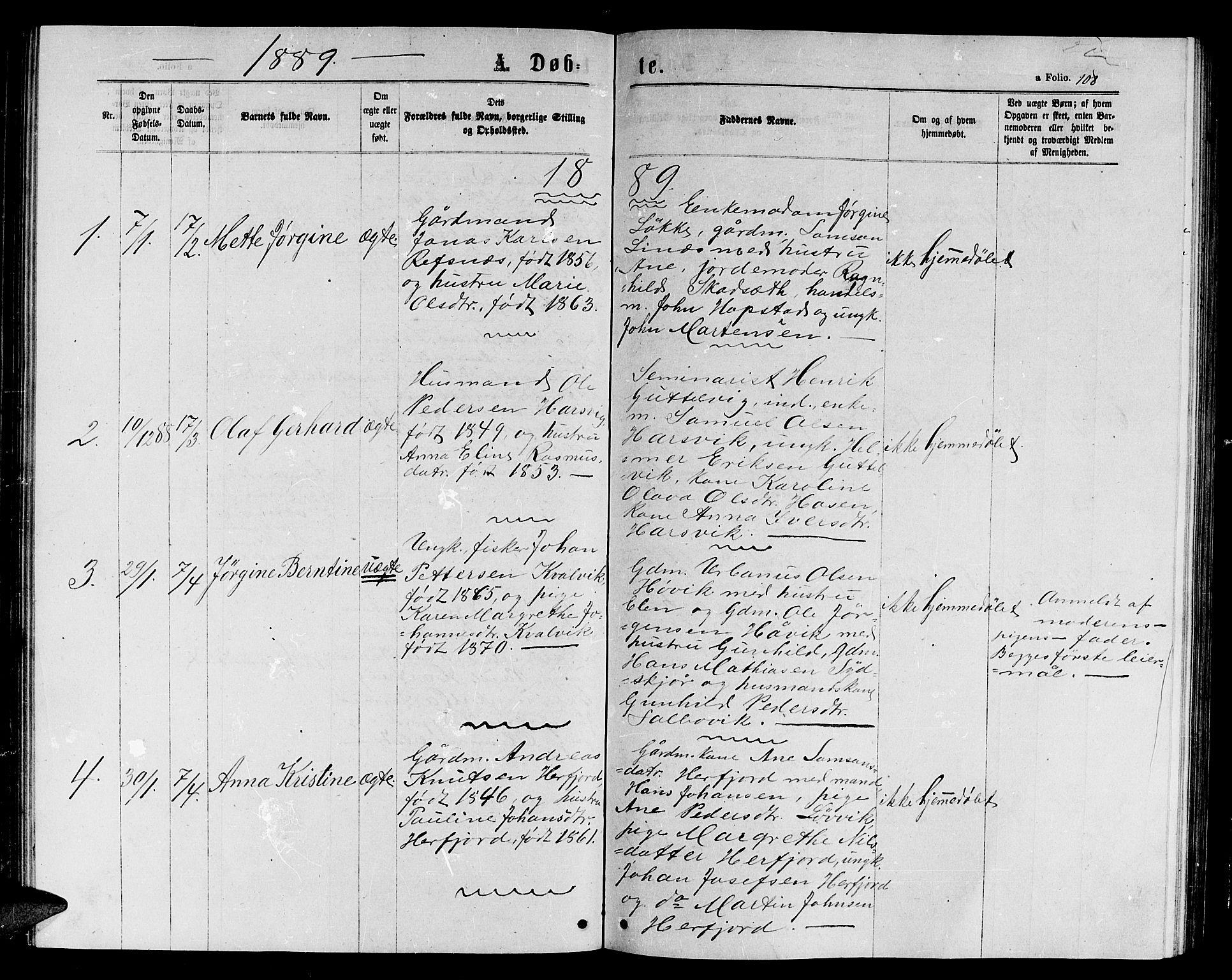 SAT, Ministerialprotokoller, klokkerbøker og fødselsregistre - Sør-Trøndelag, 656/L0695: Klokkerbok nr. 656C01, 1867-1889, s. 108