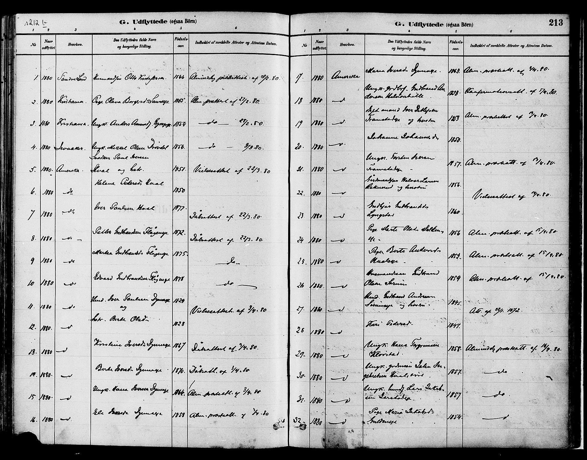 SAH, Gran prestekontor, Ministerialbok nr. 14, 1880-1889, s. 213