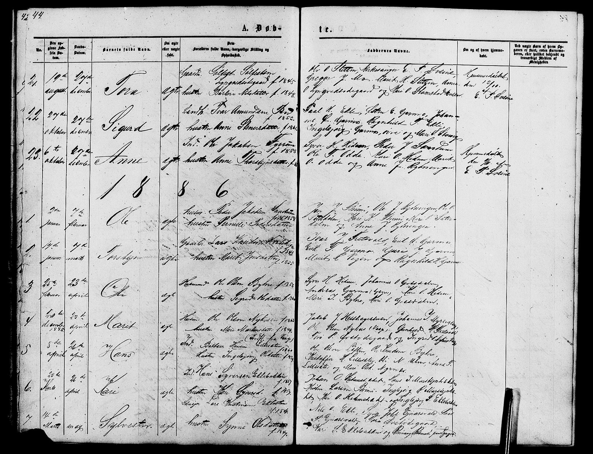 SAH, Lom prestekontor, L/L0005: Klokkerbok nr. 5, 1876-1901, s. 44-45