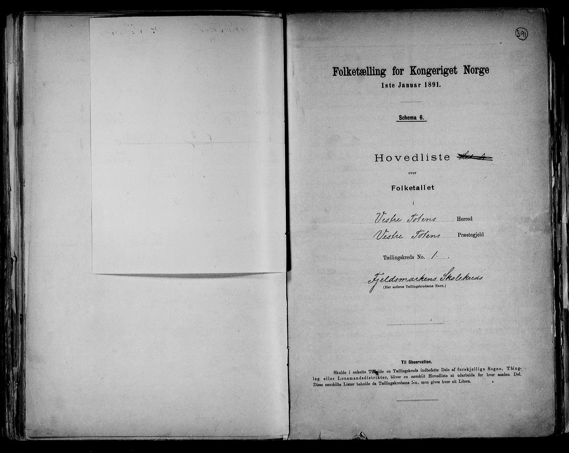 RA, Folketelling 1891 for 0529 Vestre Toten herred, 1891, s. 5