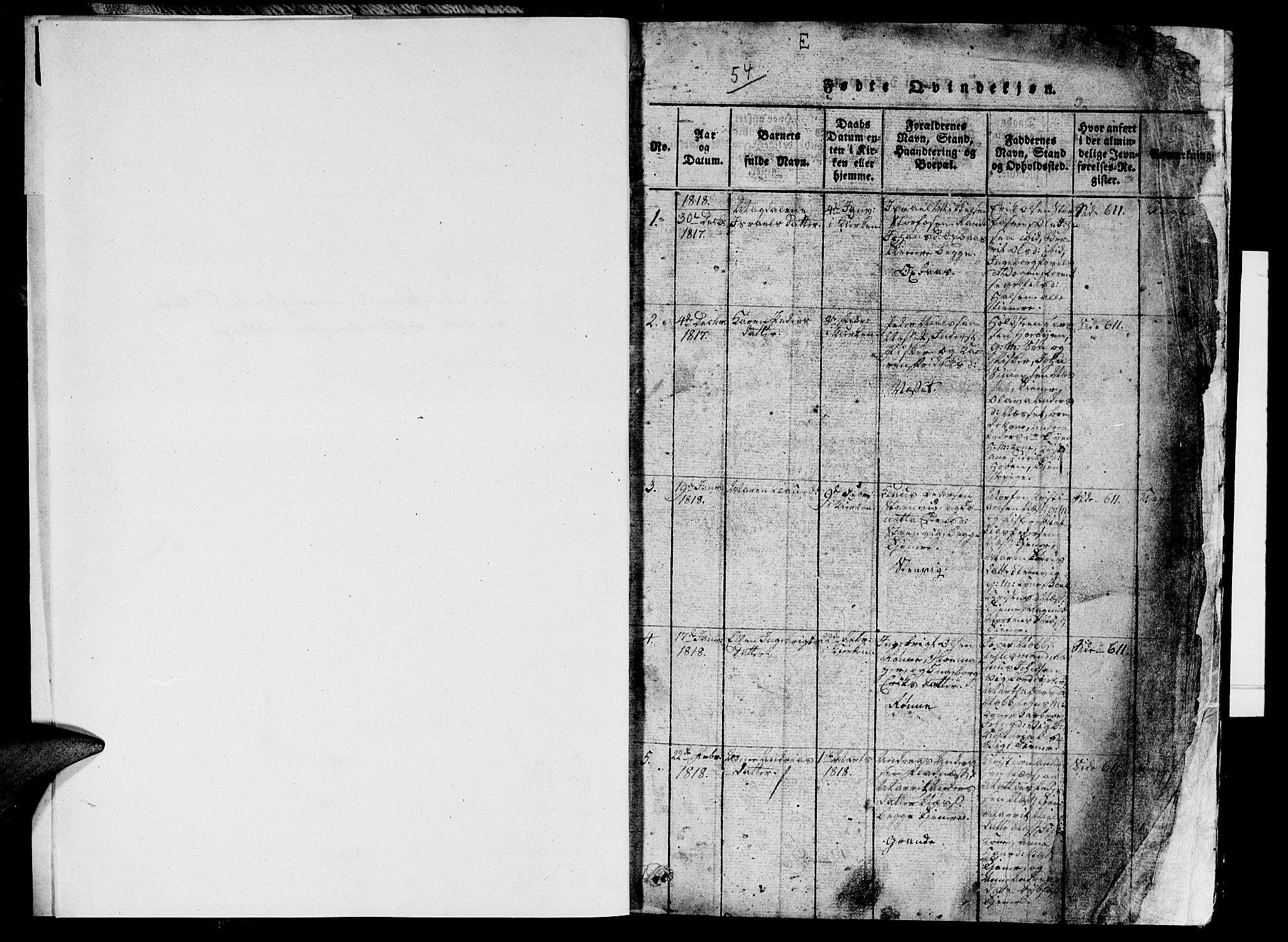 SAT, Ministerialprotokoller, klokkerbøker og fødselsregistre - Sør-Trøndelag, 659/L0744: Klokkerbok nr. 659C01, 1818-1825, s. 0-1