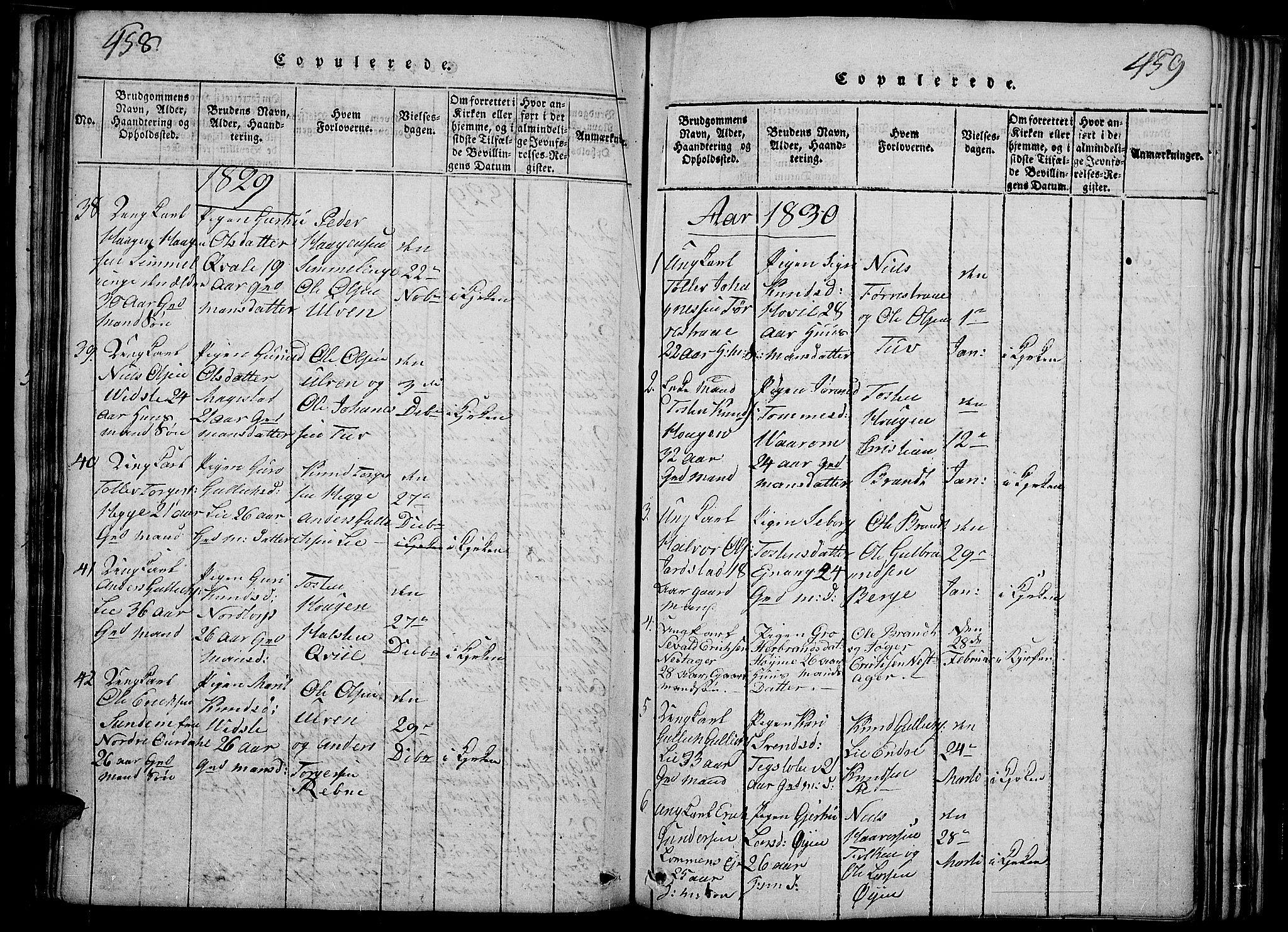 SAH, Slidre prestekontor, Ministerialbok nr. 2, 1814-1830, s. 458-459