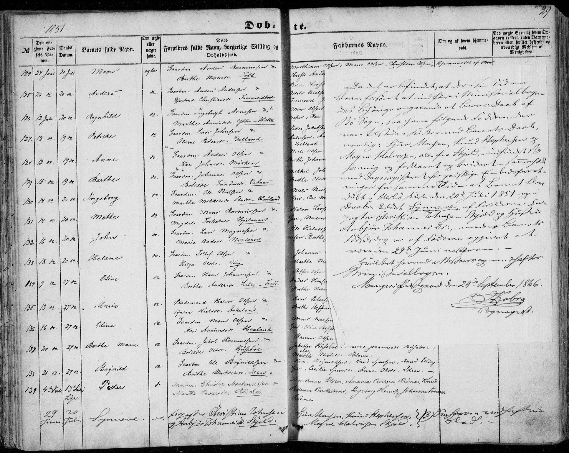 SAB, Manger sokneprestembete, H/Haa: Ministerialbok nr. A 6, 1849-1859, s. 29