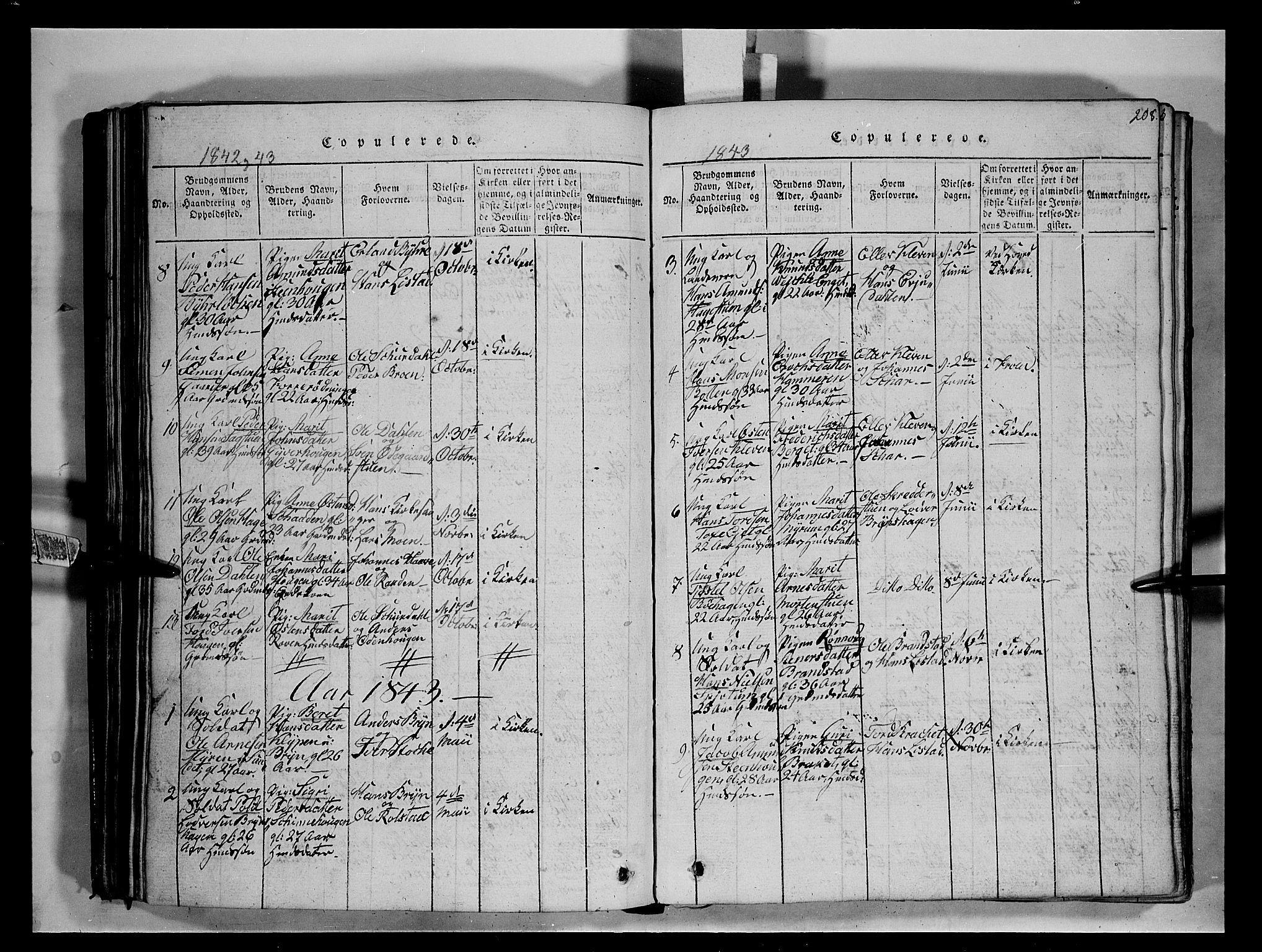 SAH, Fron prestekontor, H/Ha/Hab/L0004: Klokkerbok nr. 4, 1816-1850, s. 208