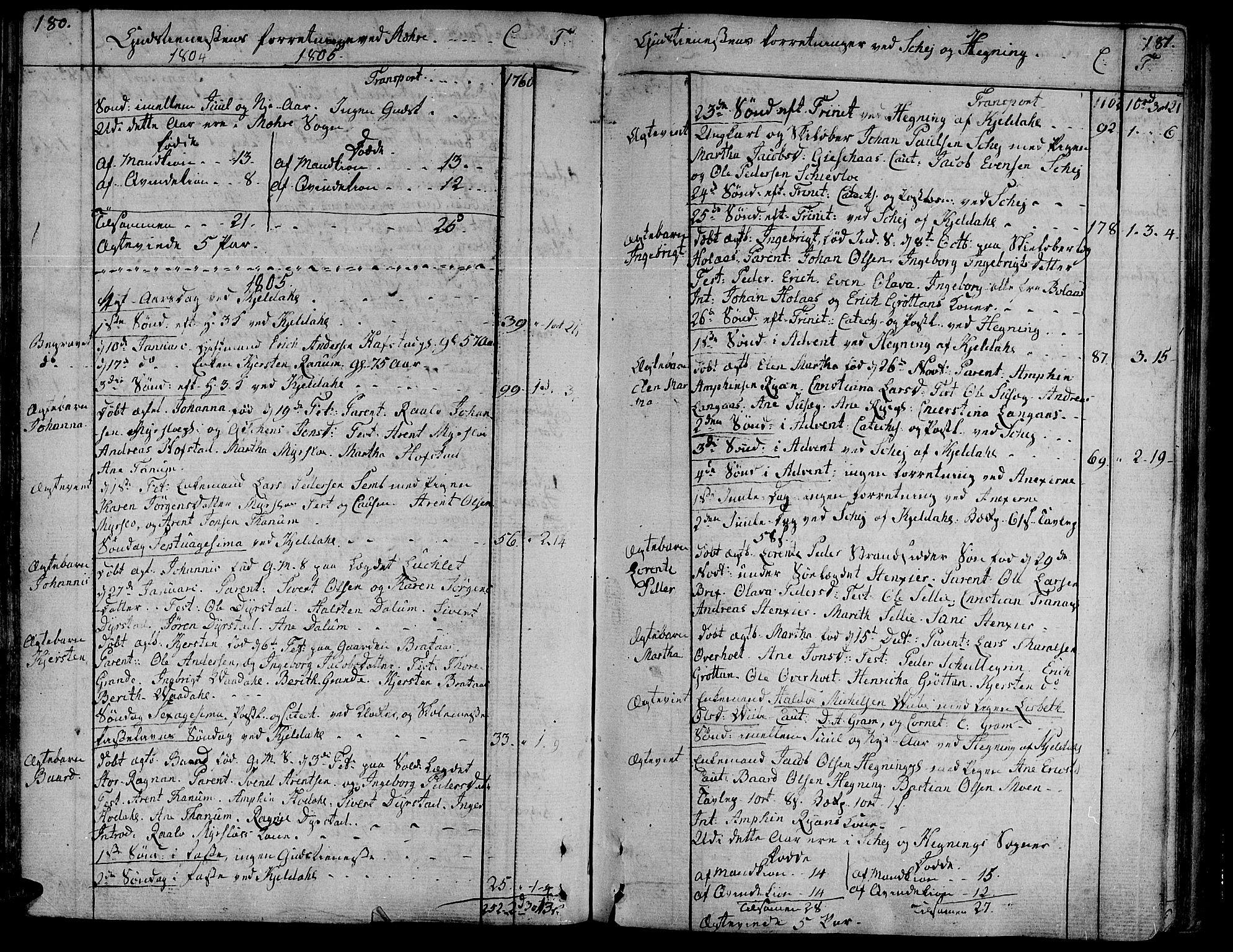 SAT, Ministerialprotokoller, klokkerbøker og fødselsregistre - Nord-Trøndelag, 735/L0332: Ministerialbok nr. 735A03, 1795-1816, s. 180-181