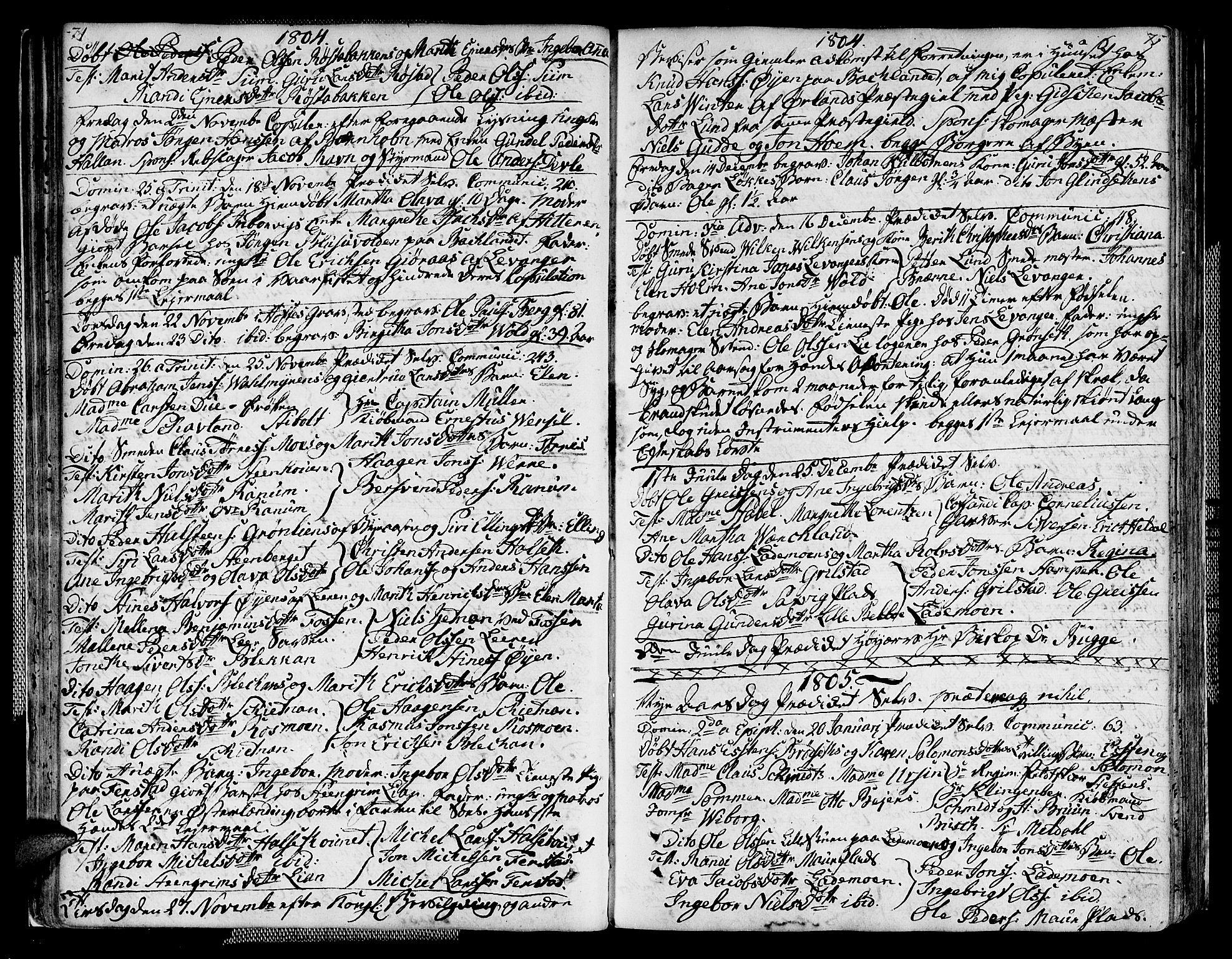 SAT, Ministerialprotokoller, klokkerbøker og fødselsregistre - Sør-Trøndelag, 604/L0181: Ministerialbok nr. 604A02, 1798-1817, s. 74-75