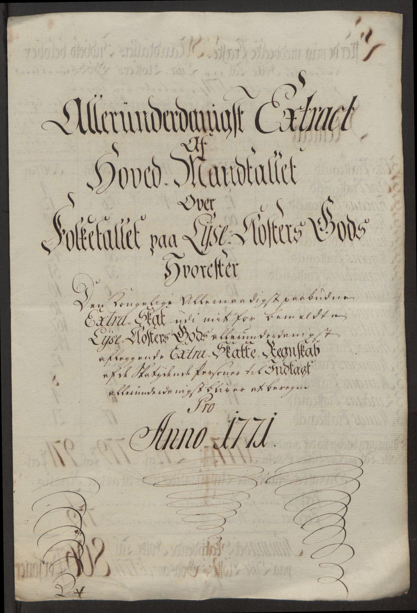 RA, Rentekammeret inntil 1814, Reviderte regnskaper, Fogderegnskap, R50/L3180: Ekstraskatten Lyse kloster, 1762-1783, s. 251