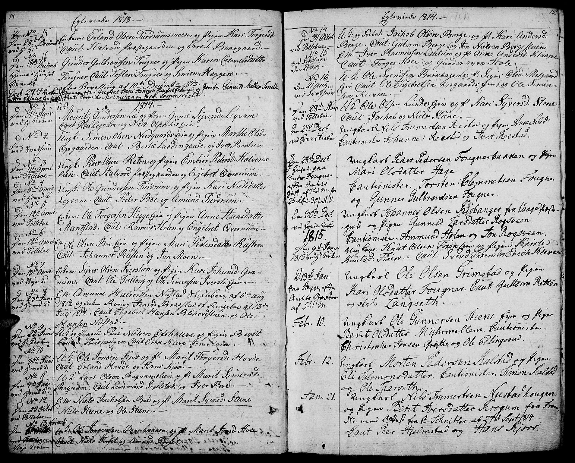 SAH, Gausdal prestekontor, Ministerialbok nr. 4, 1809-1817, s. 14-15