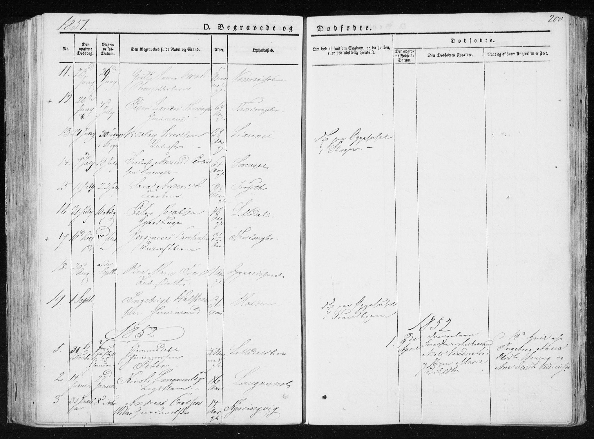 SAT, Ministerialprotokoller, klokkerbøker og fødselsregistre - Nord-Trøndelag, 733/L0323: Ministerialbok nr. 733A02, 1843-1870, s. 200