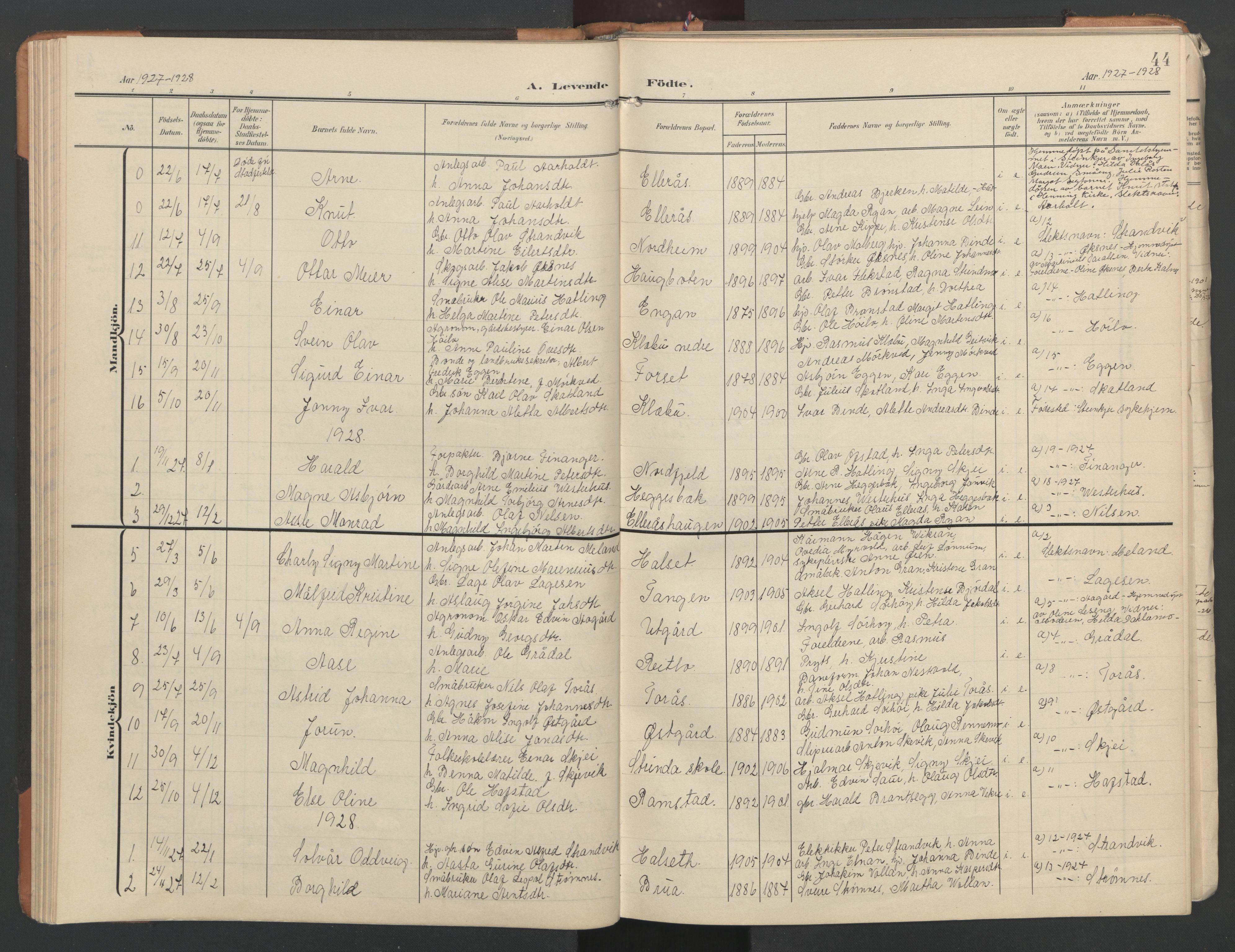SAT, Ministerialprotokoller, klokkerbøker og fødselsregistre - Nord-Trøndelag, 746/L0455: Klokkerbok nr. 746C01, 1908-1933, s. 44