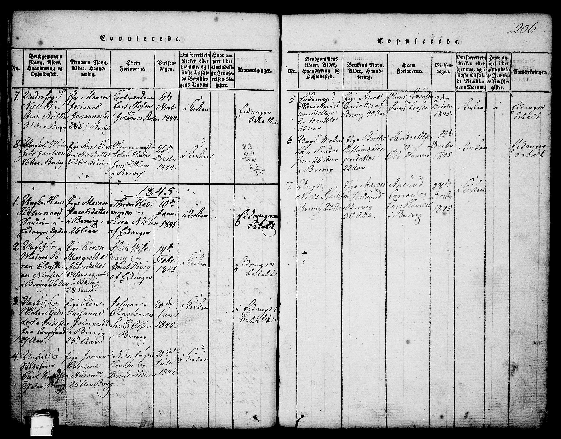 SAKO, Brevik kirkebøker, G/Ga/L0001: Klokkerbok nr. 1, 1814-1845, s. 206