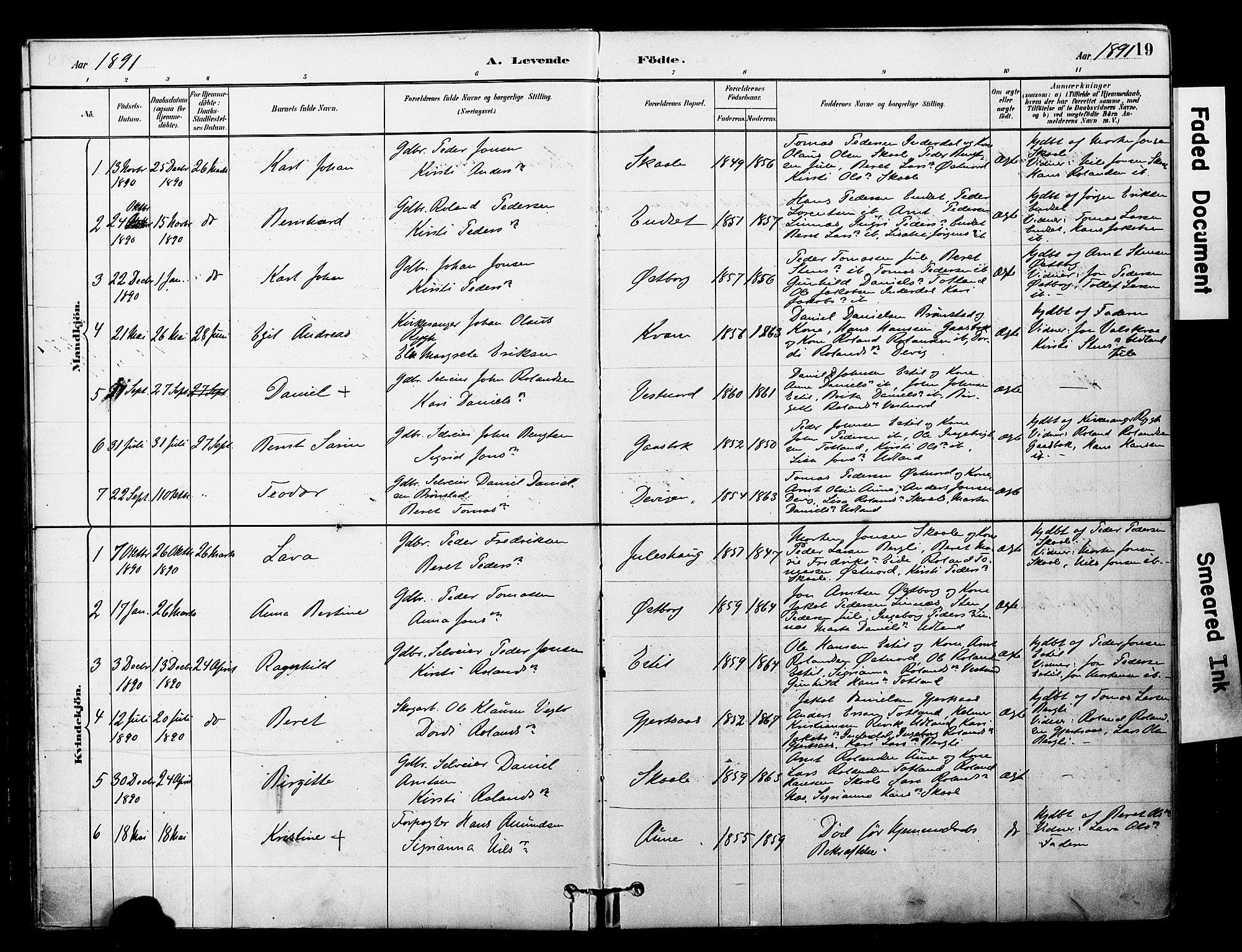 SAT, Ministerialprotokoller, klokkerbøker og fødselsregistre - Nord-Trøndelag, 757/L0505: Ministerialbok nr. 757A01, 1882-1904, s. 19