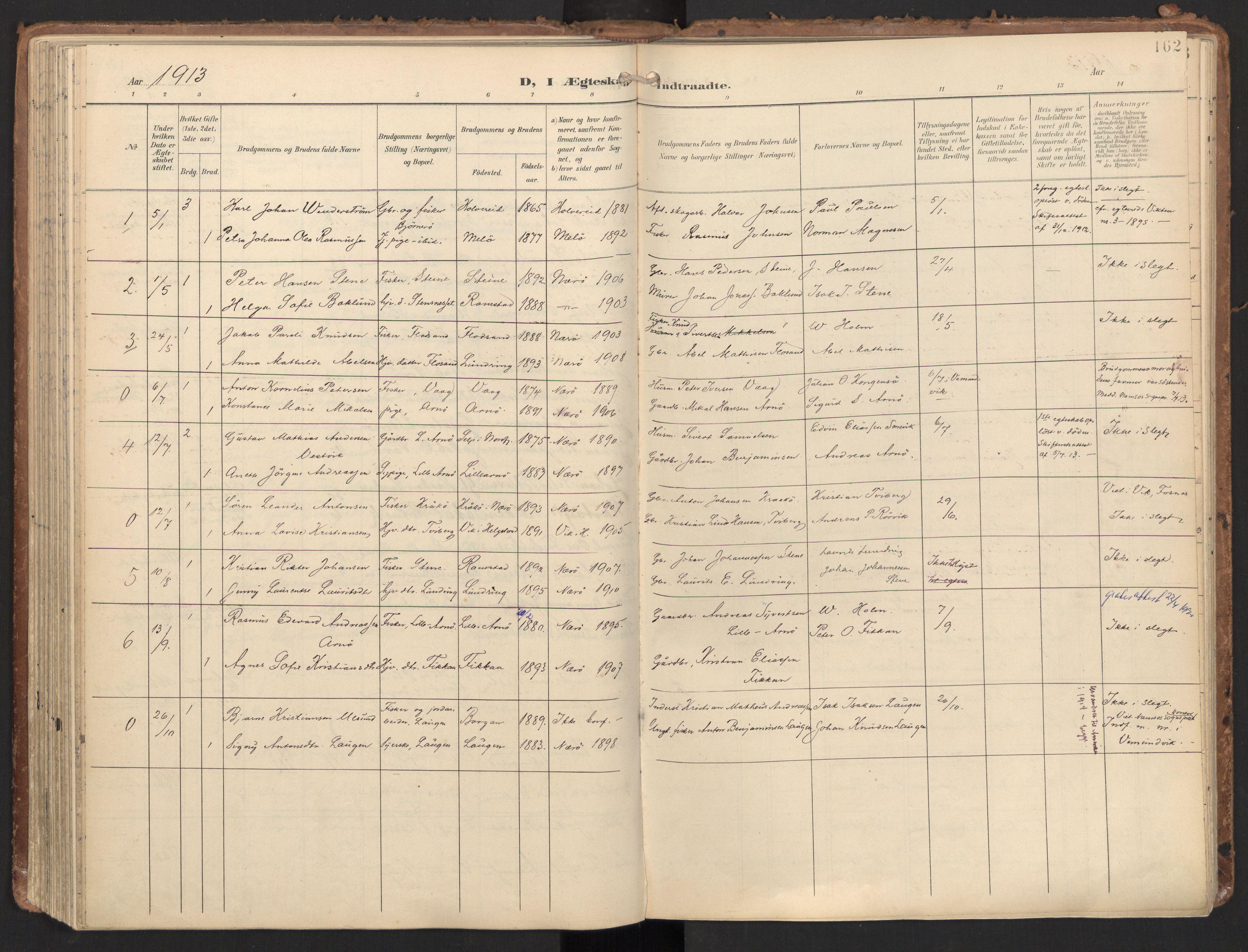 SAT, Ministerialprotokoller, klokkerbøker og fødselsregistre - Nord-Trøndelag, 784/L0677: Ministerialbok nr. 784A12, 1900-1920, s. 162