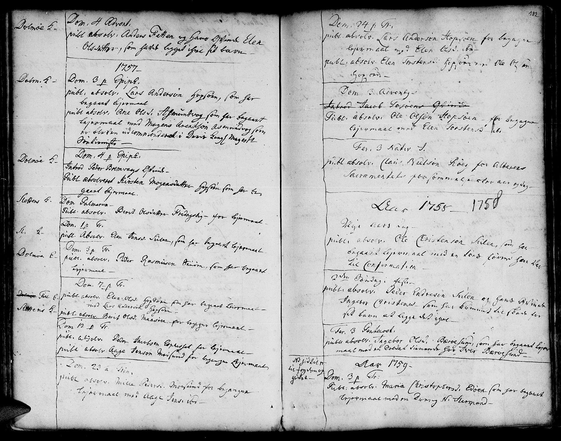 SAT, Ministerialprotokoller, klokkerbøker og fødselsregistre - Sør-Trøndelag, 634/L0525: Ministerialbok nr. 634A01, 1736-1775, s. 182