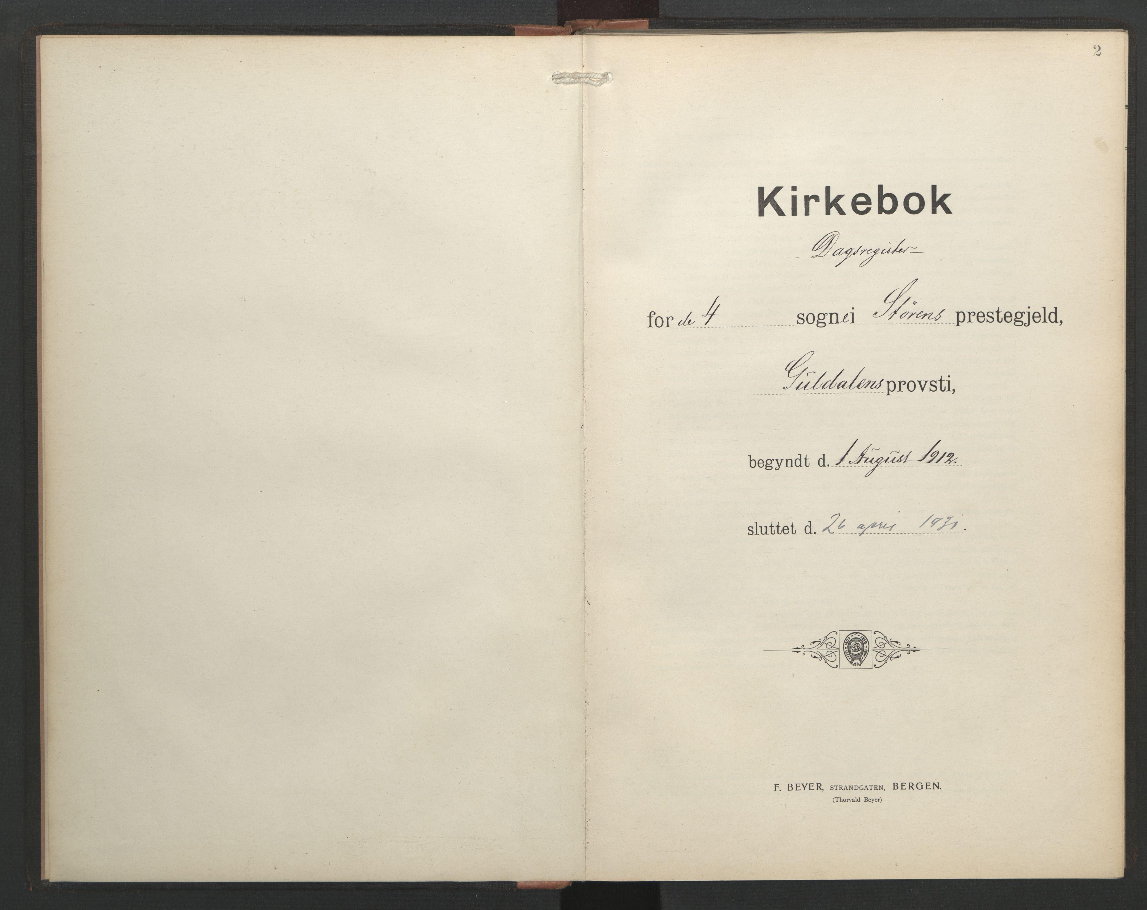 SAT, Ministerialprotokoller, klokkerbøker og fødselsregistre - Sør-Trøndelag, 687/L1006: Dagregister nr. 687A12, 1912-1931, s. 2