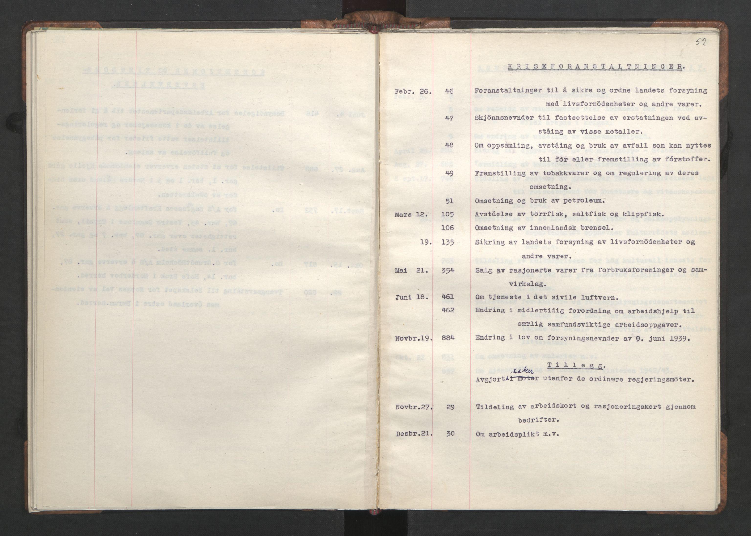 RA, NS-administrasjonen 1940-1945 (Statsrådsekretariatet, de kommisariske statsråder mm), D/Da/L0002: Register (RA j.nr. 985/1943, tilgangsnr. 17/1943), 1942, s. 58b-59a