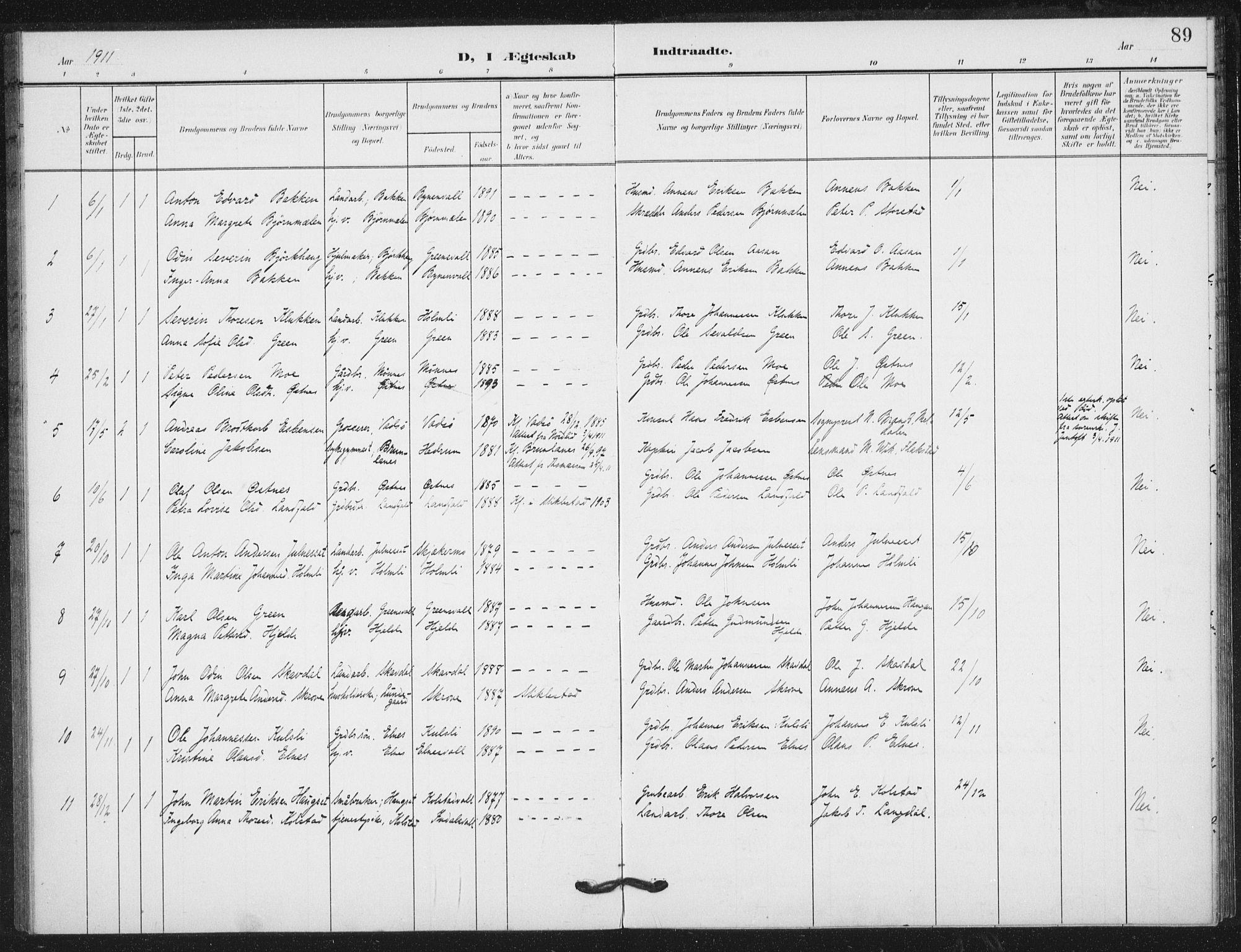 SAT, Ministerialprotokoller, klokkerbøker og fødselsregistre - Nord-Trøndelag, 724/L0264: Ministerialbok nr. 724A02, 1908-1915, s. 89