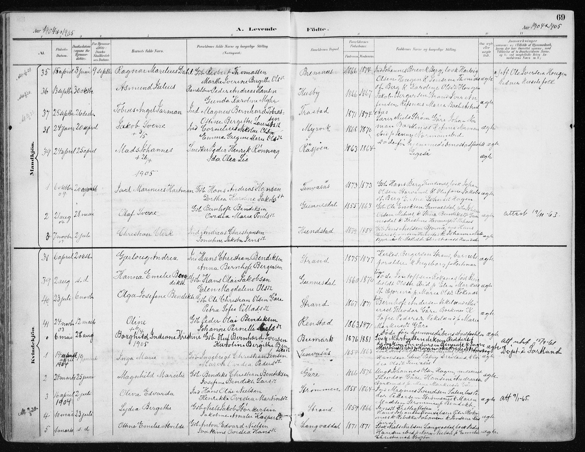 SATØ, Kvæfjord sokneprestkontor, G/Ga/Gaa/L0006kirke: Ministerialbok nr. 6, 1895-1914, s. 69
