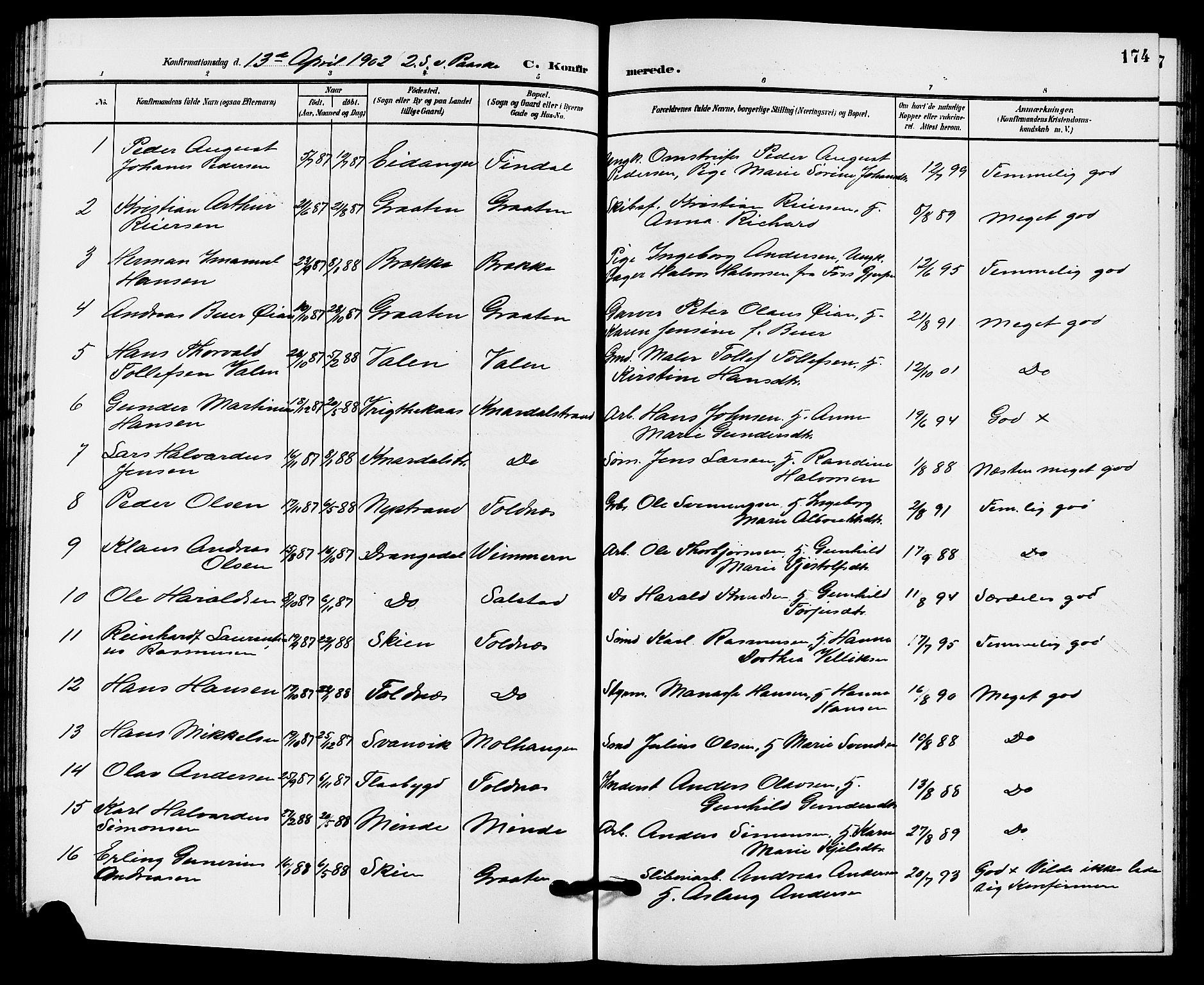 SAKO, Solum kirkebøker, G/Ga/L0008: Klokkerbok nr. I 8, 1898-1909, s. 174