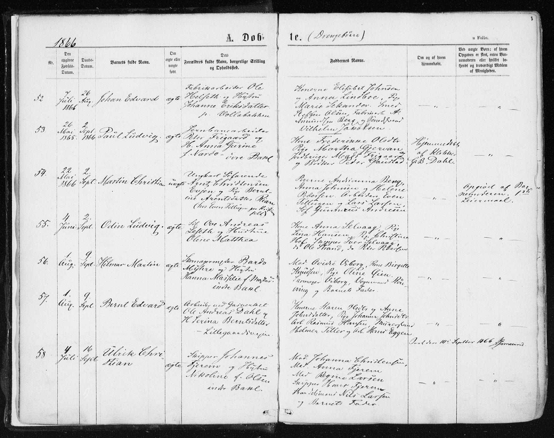 SAT, Ministerialprotokoller, klokkerbøker og fødselsregistre - Sør-Trøndelag, 604/L0186: Ministerialbok nr. 604A07, 1866-1877, s. 8