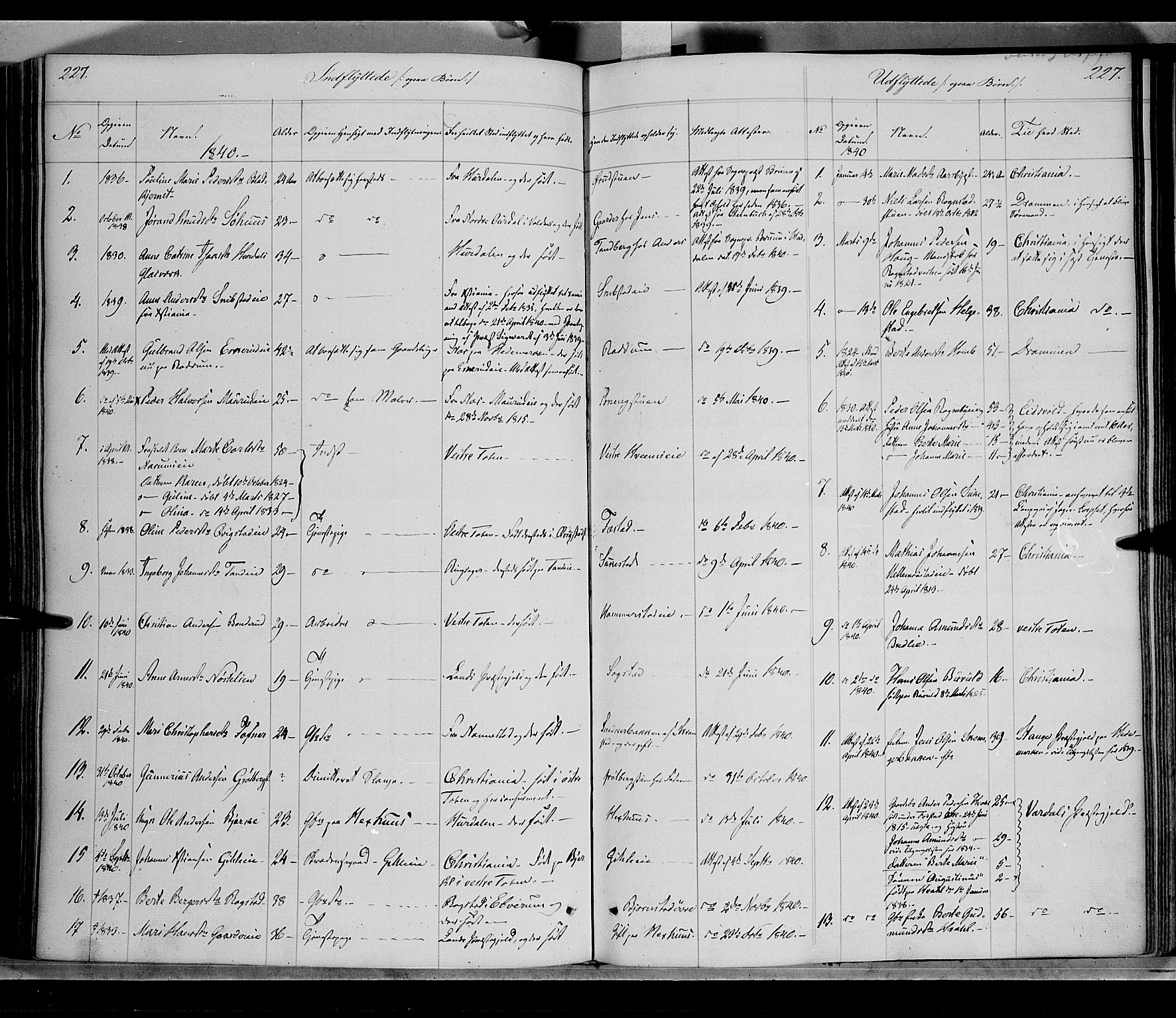 SAH, Østre Toten prestekontor, Ministerialbok nr. 2, 1840-1847, s. 227