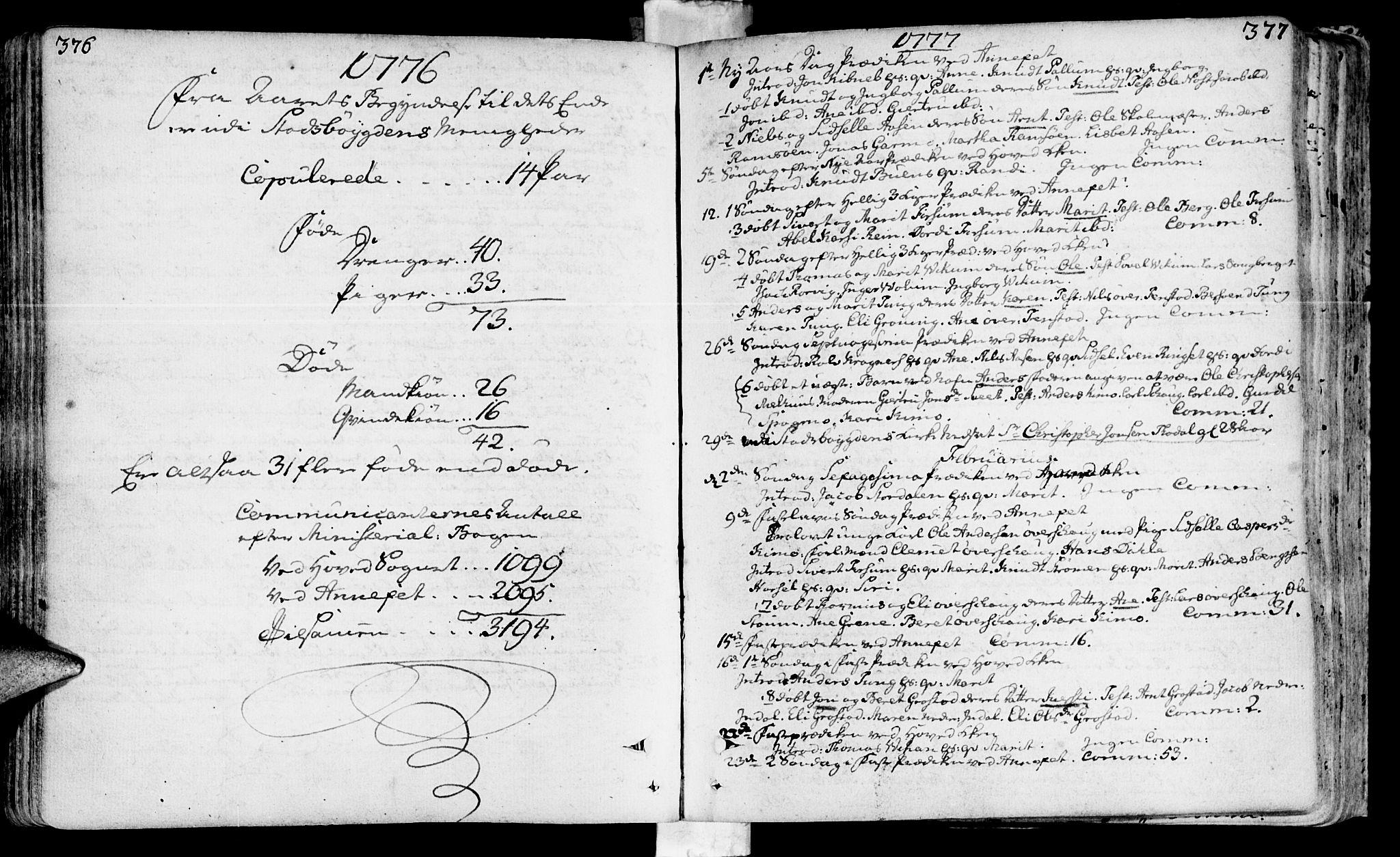 SAT, Ministerialprotokoller, klokkerbøker og fødselsregistre - Sør-Trøndelag, 646/L0605: Ministerialbok nr. 646A03, 1751-1790, s. 376-377