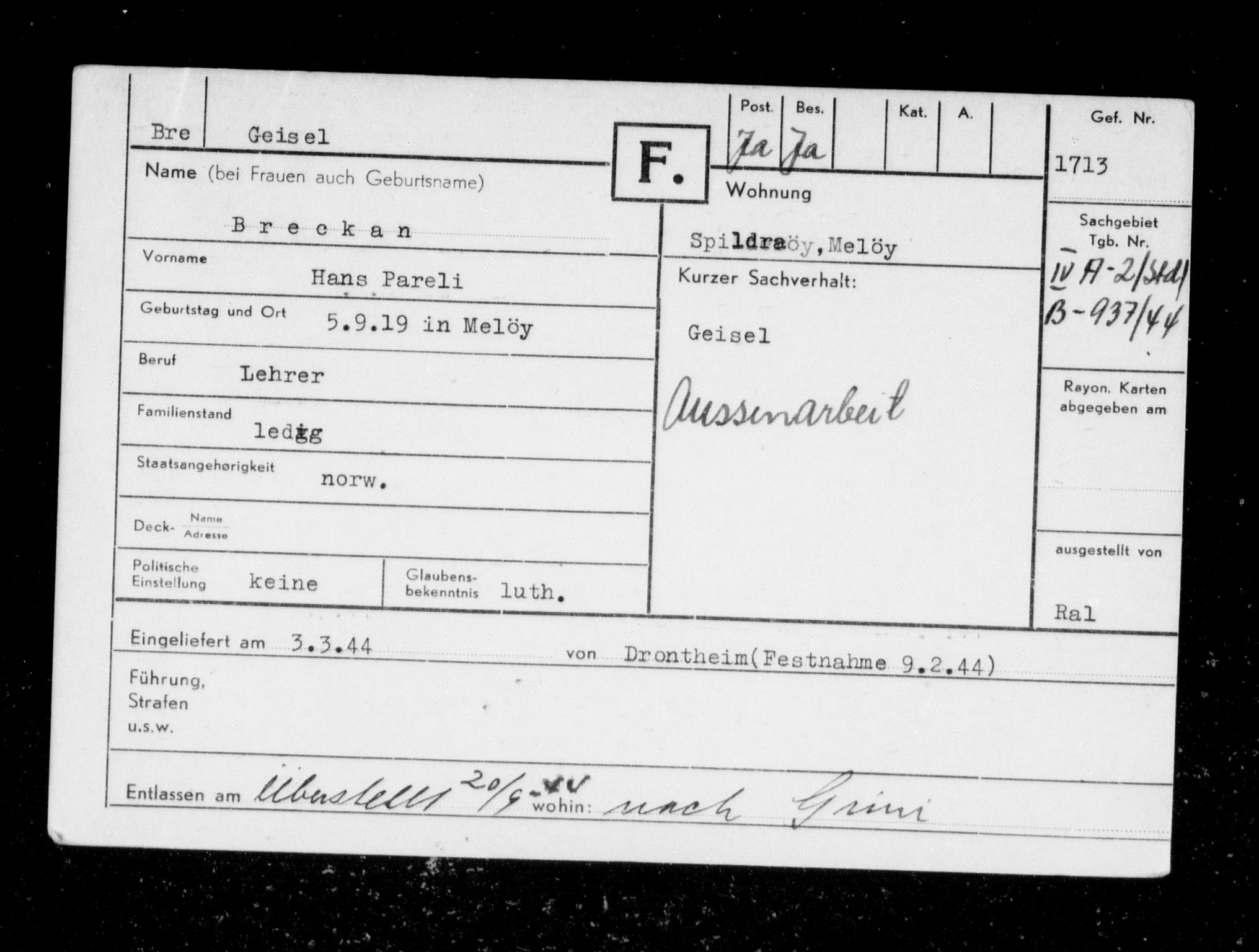 RA, Befehlshaber der Sicherheitspolizei und des SD, F/Fc/L0003: Fangeregister Falstad: Breckan - Fa, 1941-1945