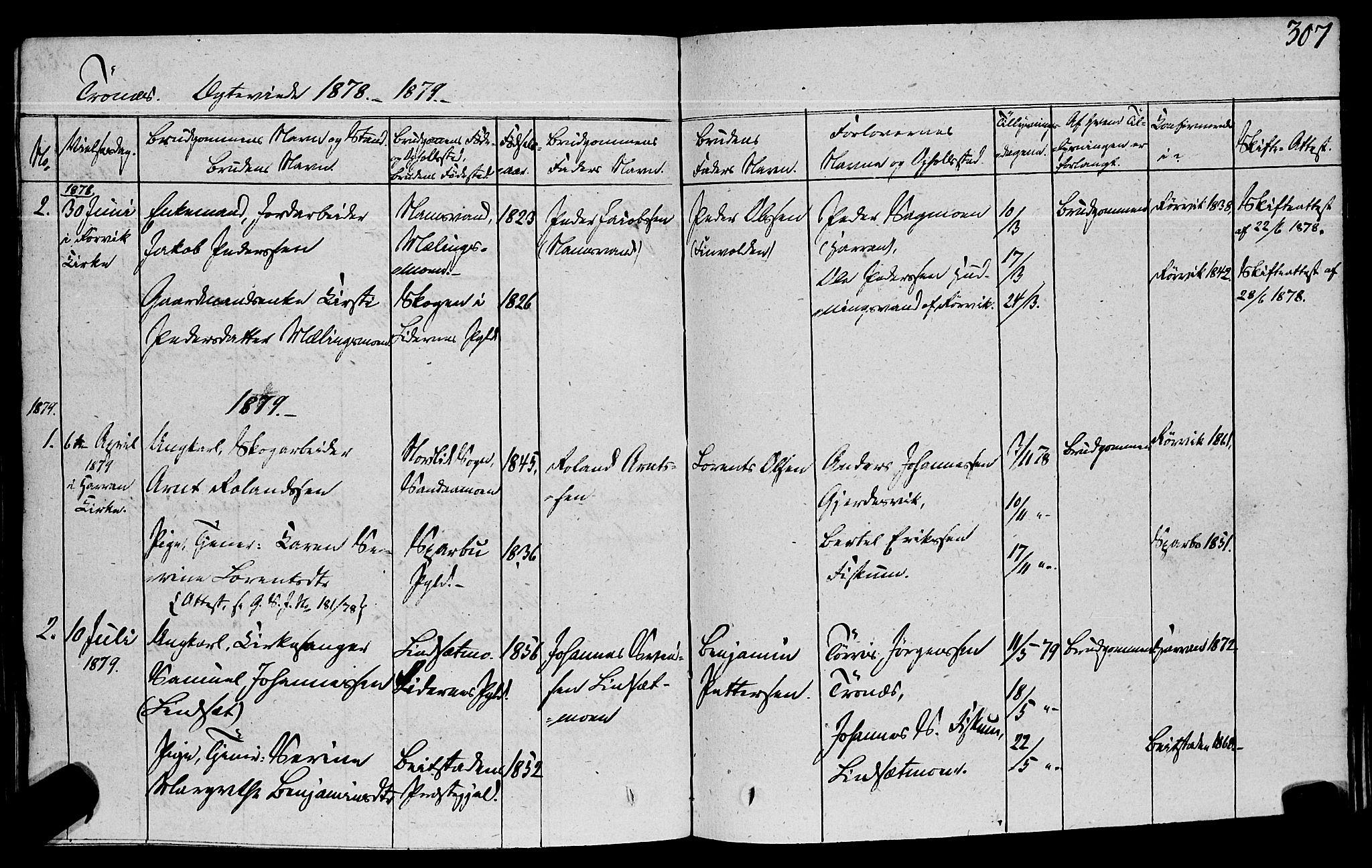 SAT, Ministerialprotokoller, klokkerbøker og fødselsregistre - Nord-Trøndelag, 762/L0538: Ministerialbok nr. 762A02 /2, 1833-1879, s. 307
