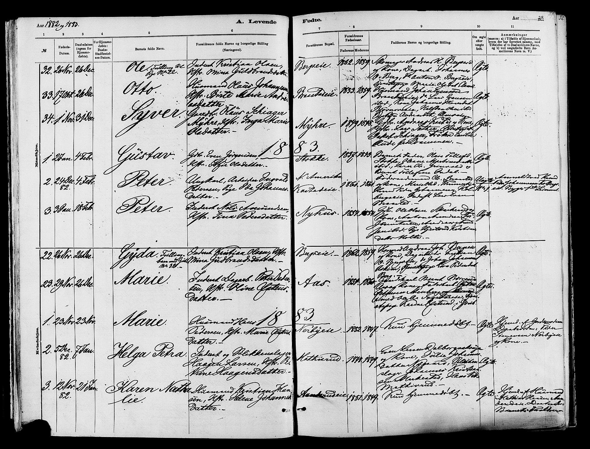 SAH, Vardal prestekontor, H/Ha/Haa/L0009: Ministerialbok nr. 9, 1878-1892, s. 29