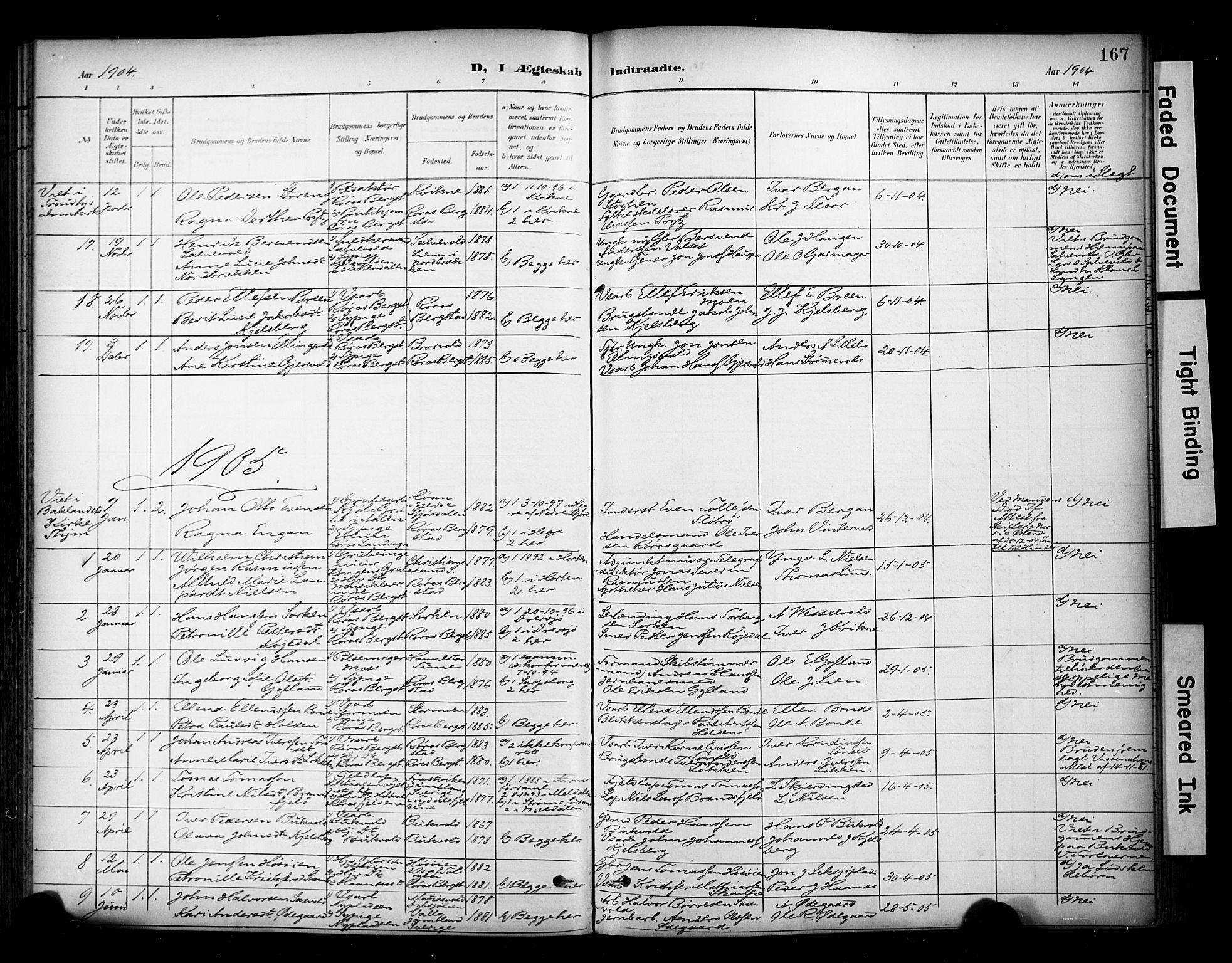 SAT, Ministerialprotokoller, klokkerbøker og fødselsregistre - Sør-Trøndelag, 681/L0936: Ministerialbok nr. 681A14, 1899-1908, s. 167
