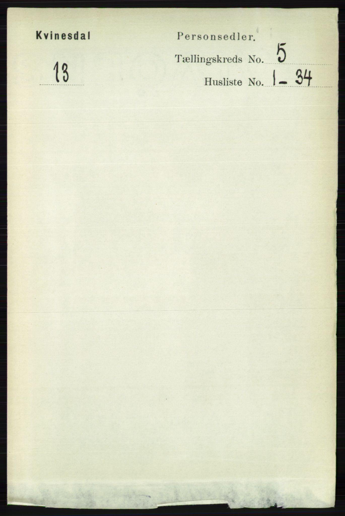 RA, Folketelling 1891 for 1037 Kvinesdal herred, 1891, s. 1698