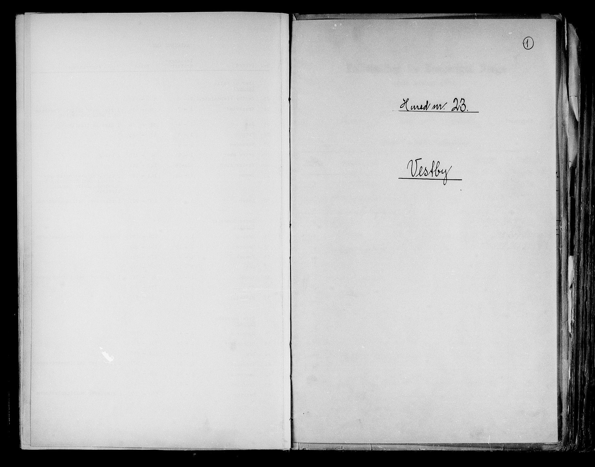 RA, Folketelling 1891 for 0211 Vestby herred, 1891, s. 1