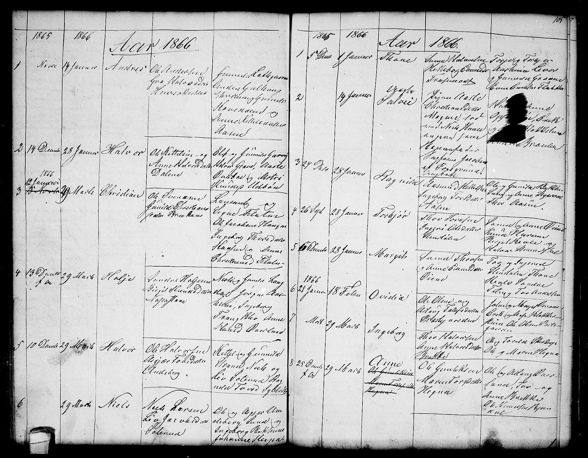 SAKO, Seljord kirkebøker, G/Ga/L0002: Klokkerbok nr. I 2, 1838-1866, s. 105