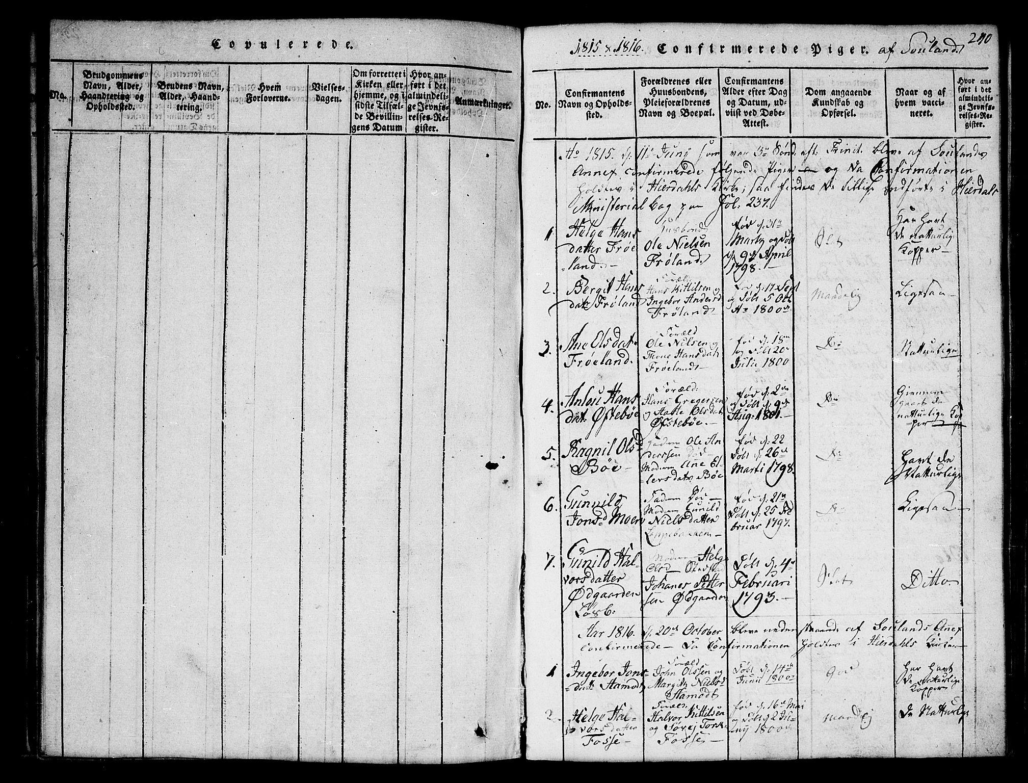 SAKO, Hjartdal kirkebøker, G/Gb/L0001: Klokkerbok nr. II 1, 1815-1842, s. 240