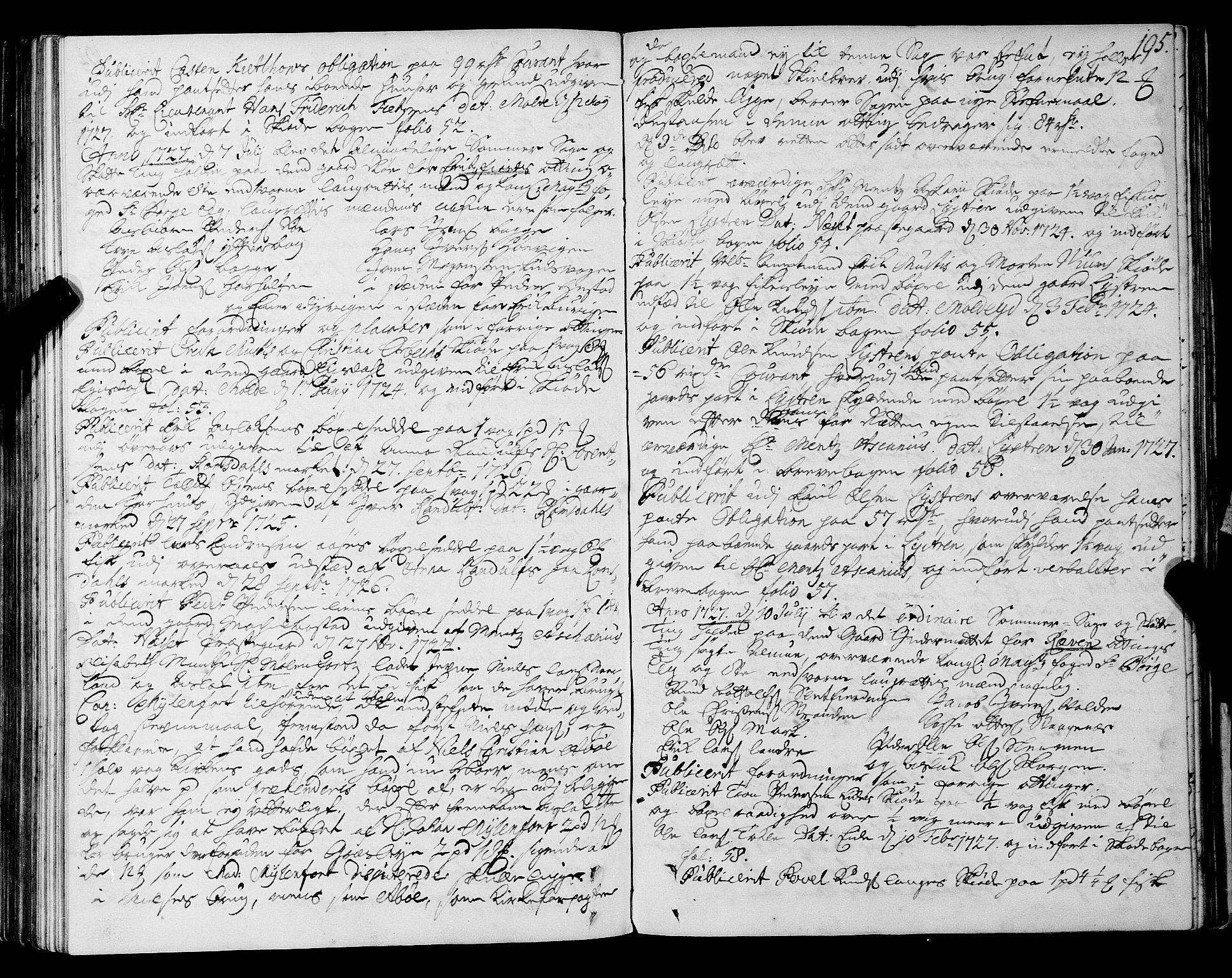 SAT, Romsdal sorenskriveri, 1/1A/L0009: Tingbok, 1722-1728, s. 194b-195a