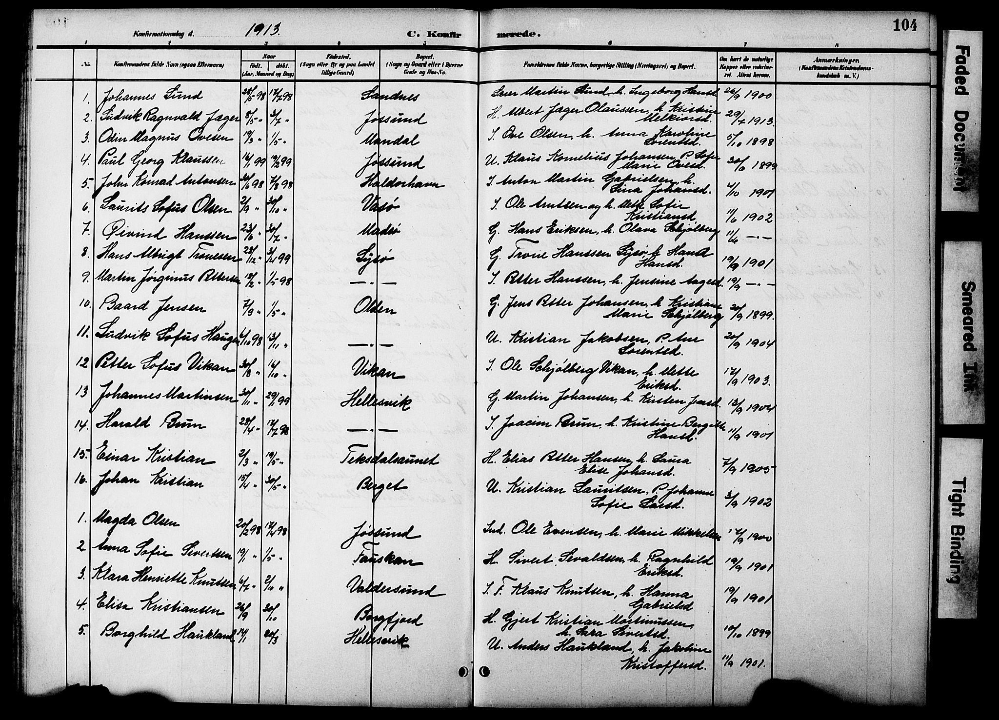 SAT, Ministerialprotokoller, klokkerbøker og fødselsregistre - Sør-Trøndelag, 654/L0666: Klokkerbok nr. 654C02, 1901-1925, s. 104