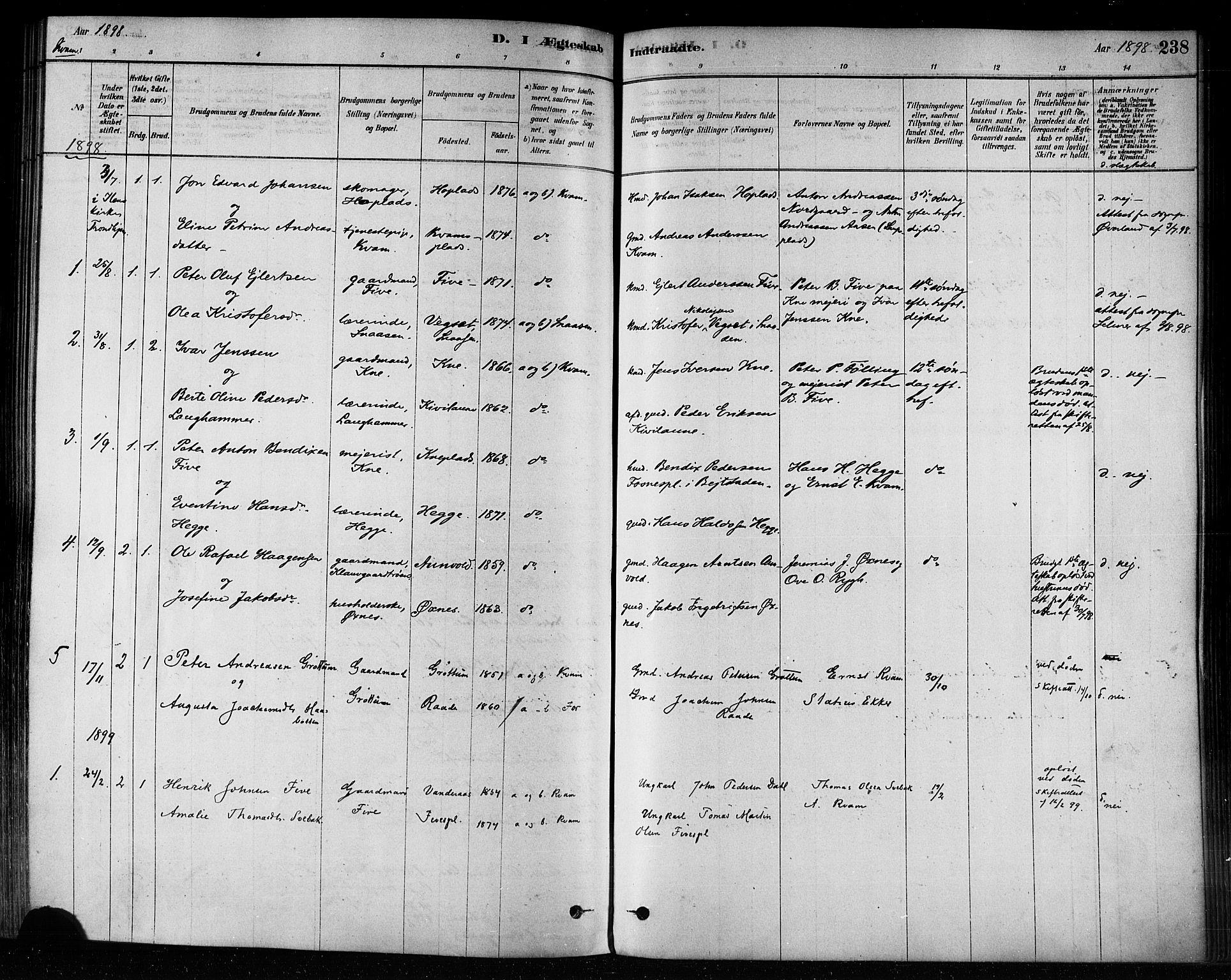SAT, Ministerialprotokoller, klokkerbøker og fødselsregistre - Nord-Trøndelag, 746/L0449: Ministerialbok nr. 746A07 /2, 1878-1899, s. 238
