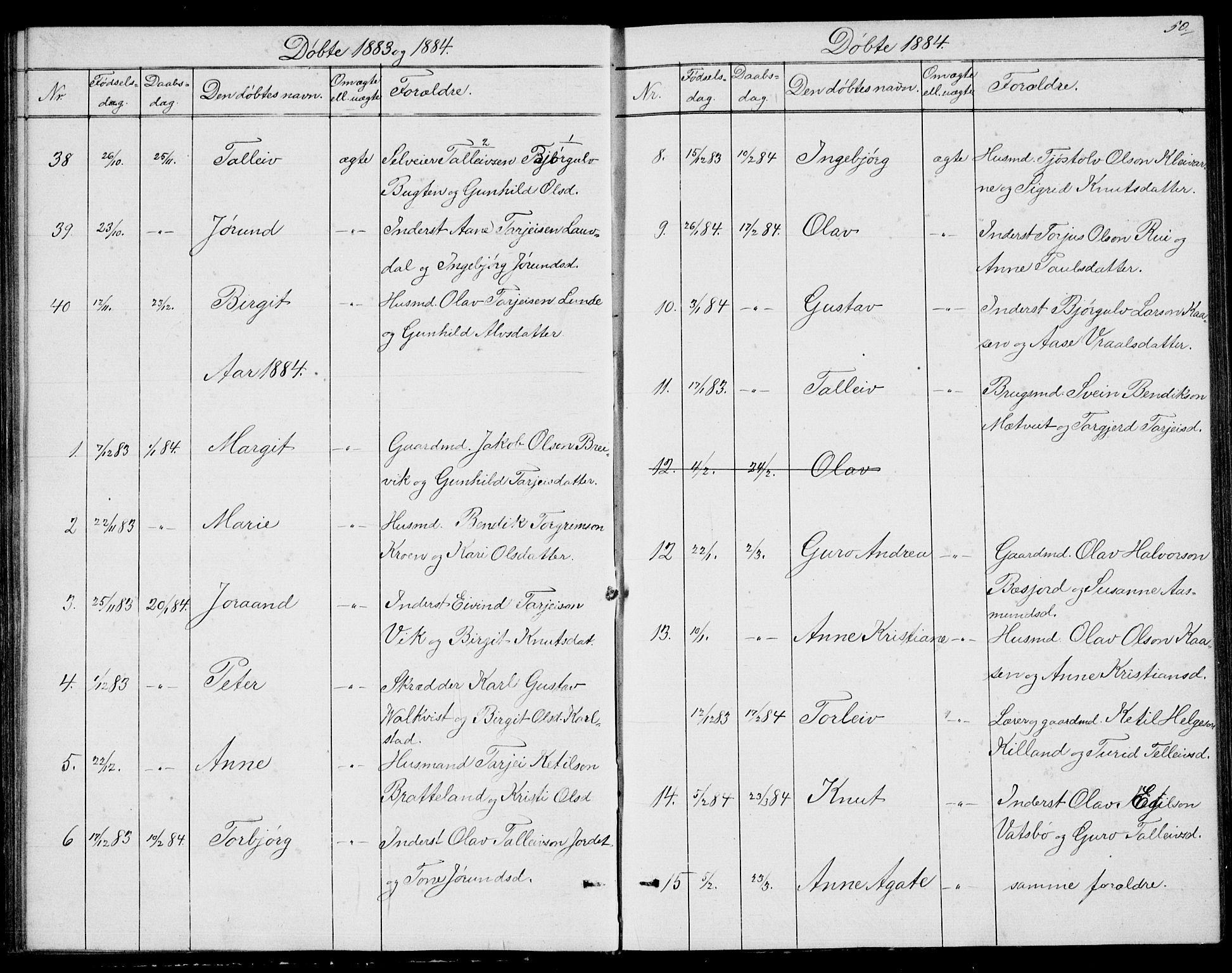 SAKO, Fyresdal kirkebøker, G/Ga/L0004: Klokkerbok nr. I 4, 1864-1892, s. 50
