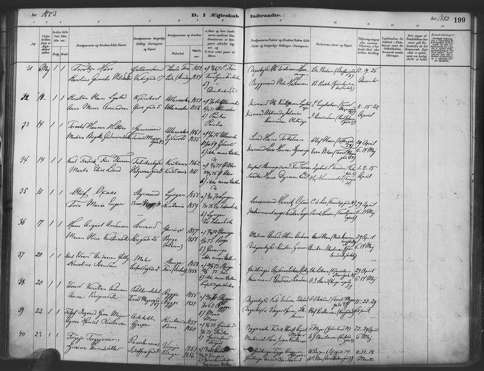 SAO, Paulus prestekontor Kirkebøker, F/Fa/L0004: Ministerialbok nr. 4, 1879-1891, s. 199