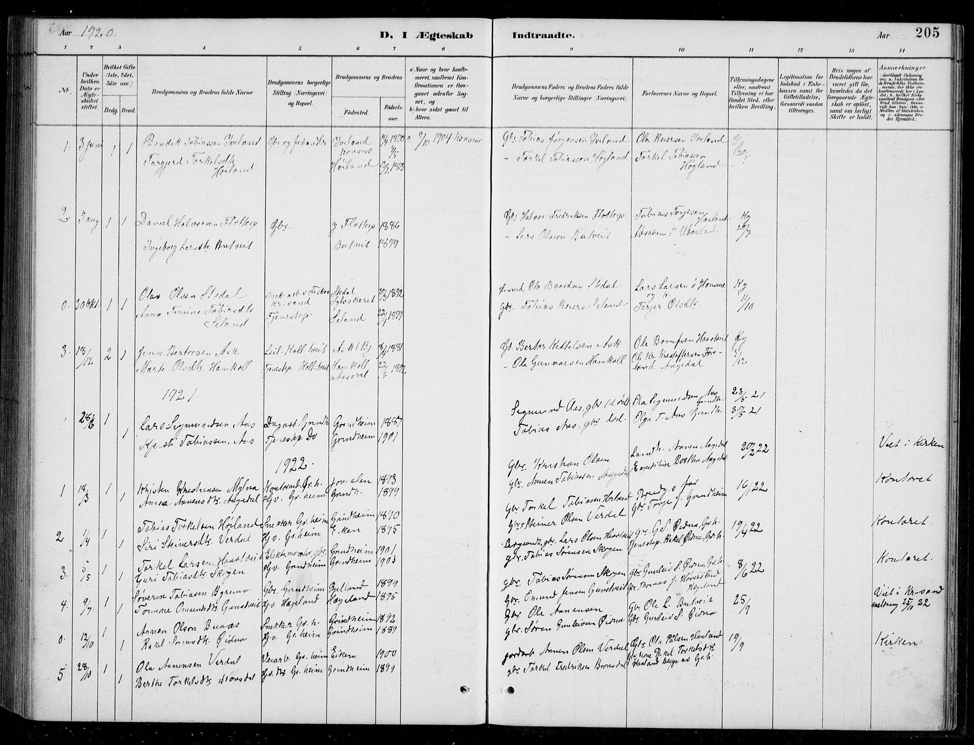 SAK, Bjelland sokneprestkontor, F/Fb/Fbc/L0003: Klokkerbok nr. B 3, 1887-1924, s. 205