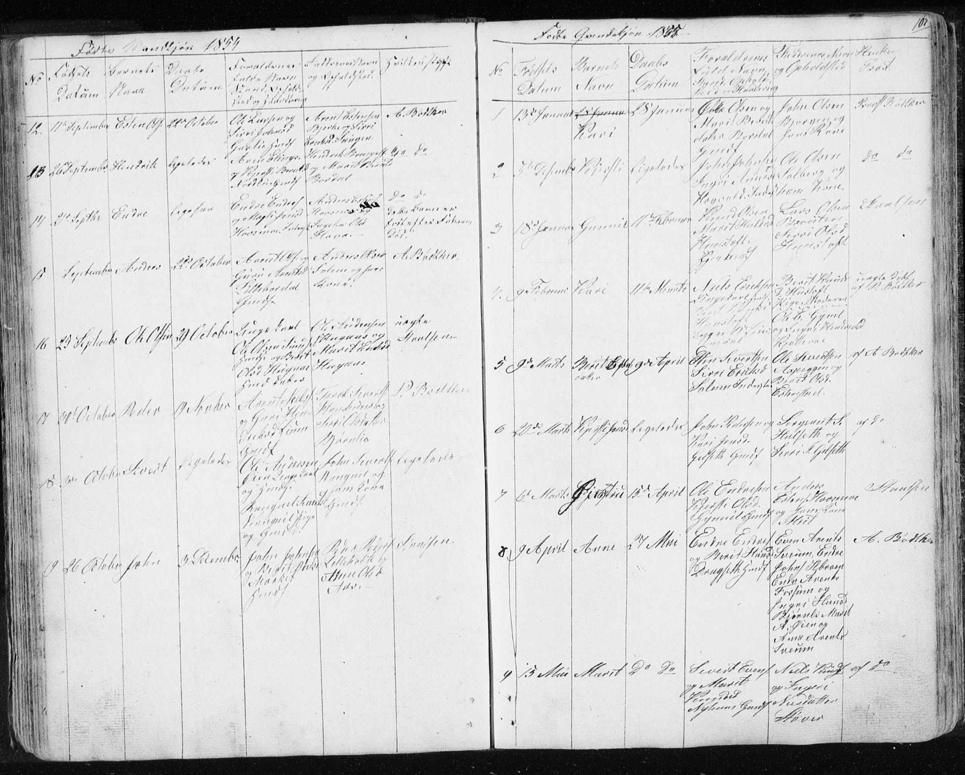 SAT, Ministerialprotokoller, klokkerbøker og fødselsregistre - Sør-Trøndelag, 689/L1043: Klokkerbok nr. 689C02, 1816-1892, s. 107