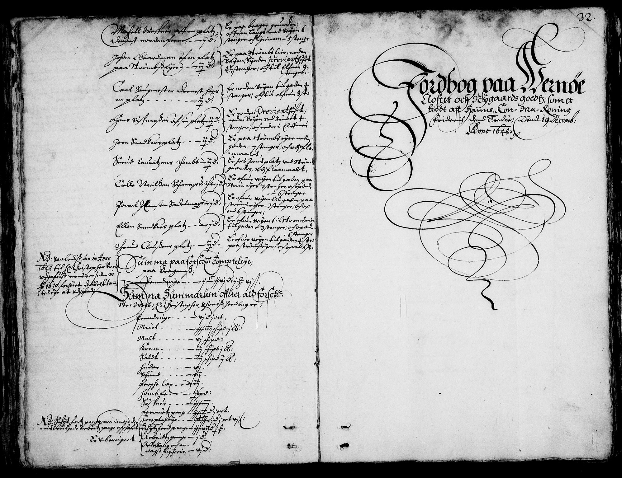 RA, Rentekammeret inntil 1814, Realistisk ordnet avdeling, On/L0001: Statens gods, 1651, s. 31b-32a